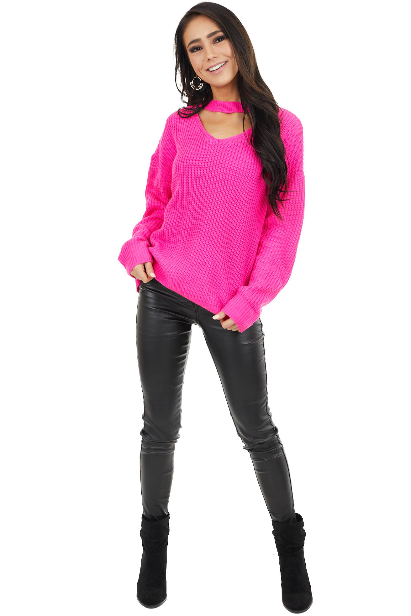 Fuchsia Knit Sweater with V Neckline Cutout Detail