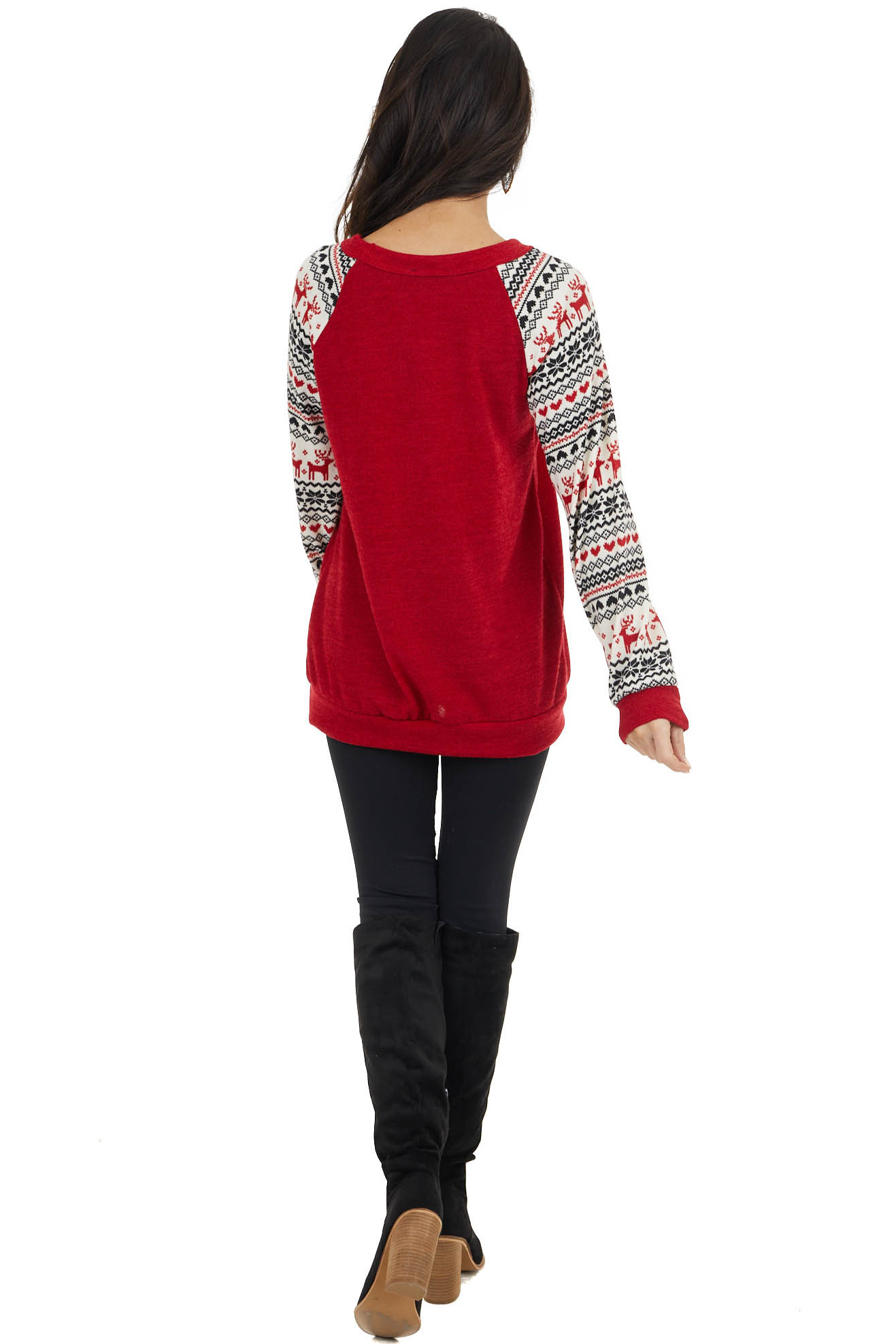 Crimson Red Long Sleeve Knit Top with Holiday Print Contrast
