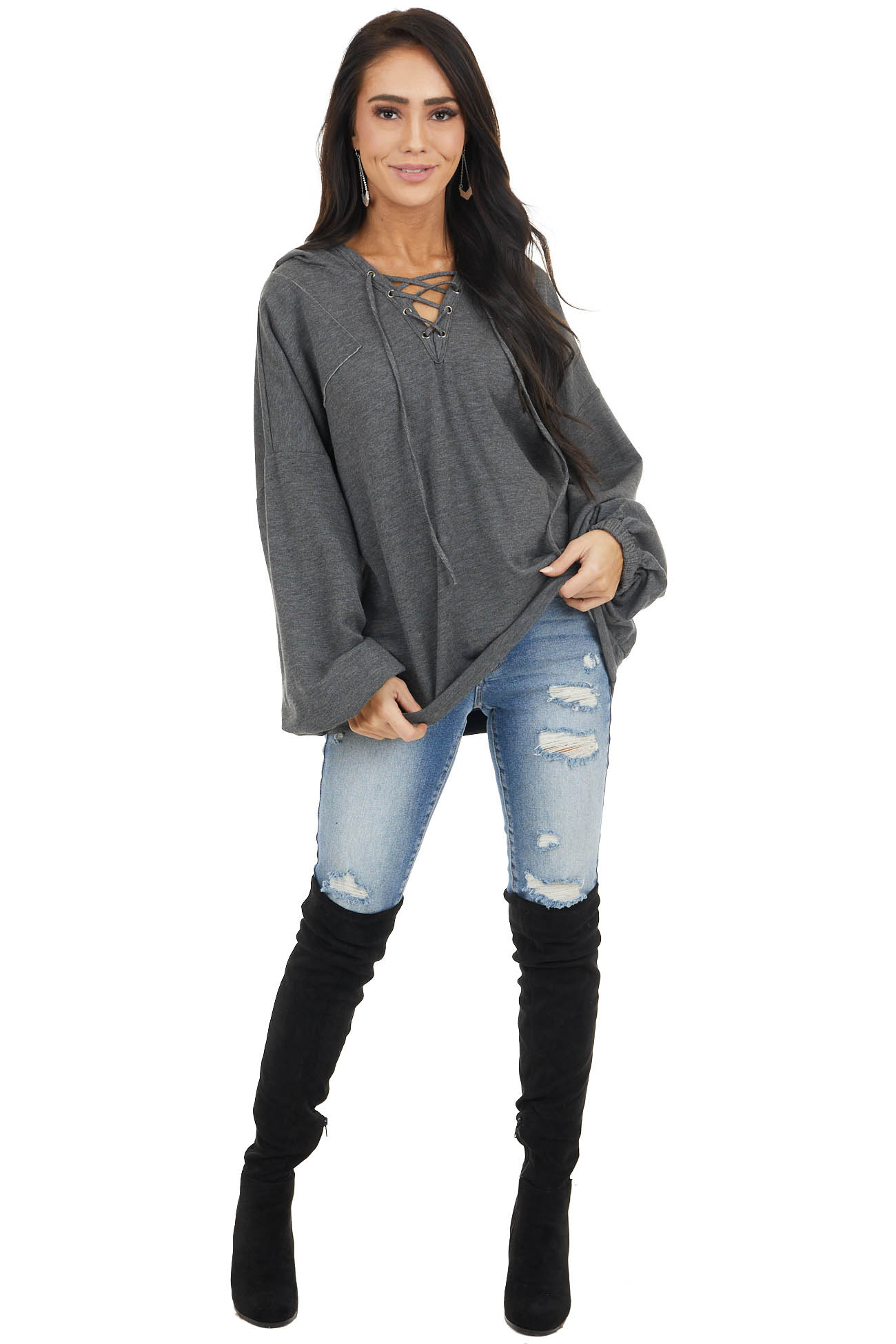 Charcoal Hooded Top with V Neck and Front Tie Detail