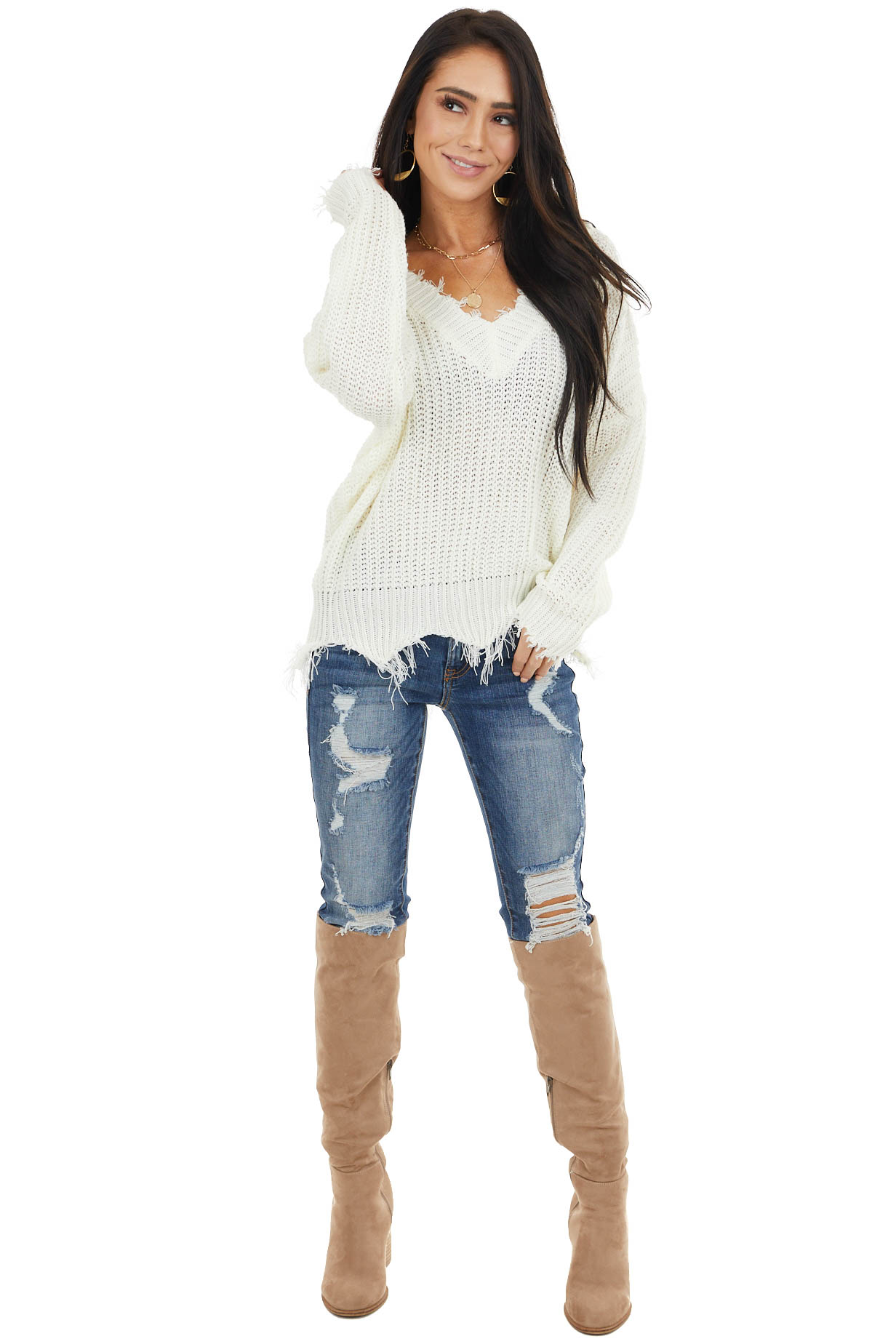 Off White V Neck Knit Sweater with Distressed Details