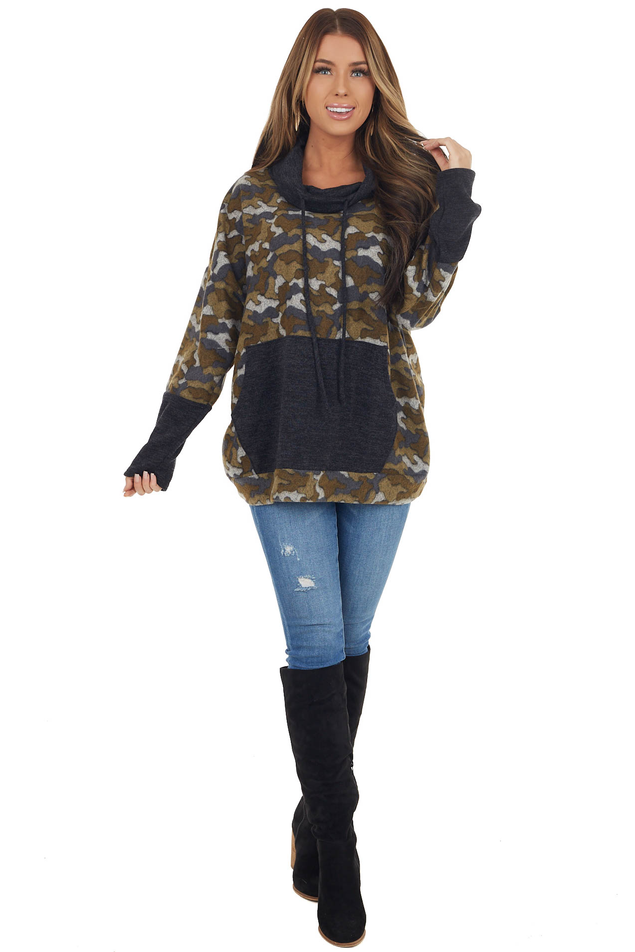 Olive Camo Print Pullover with Cowl Neck and Kangaroo Pouch