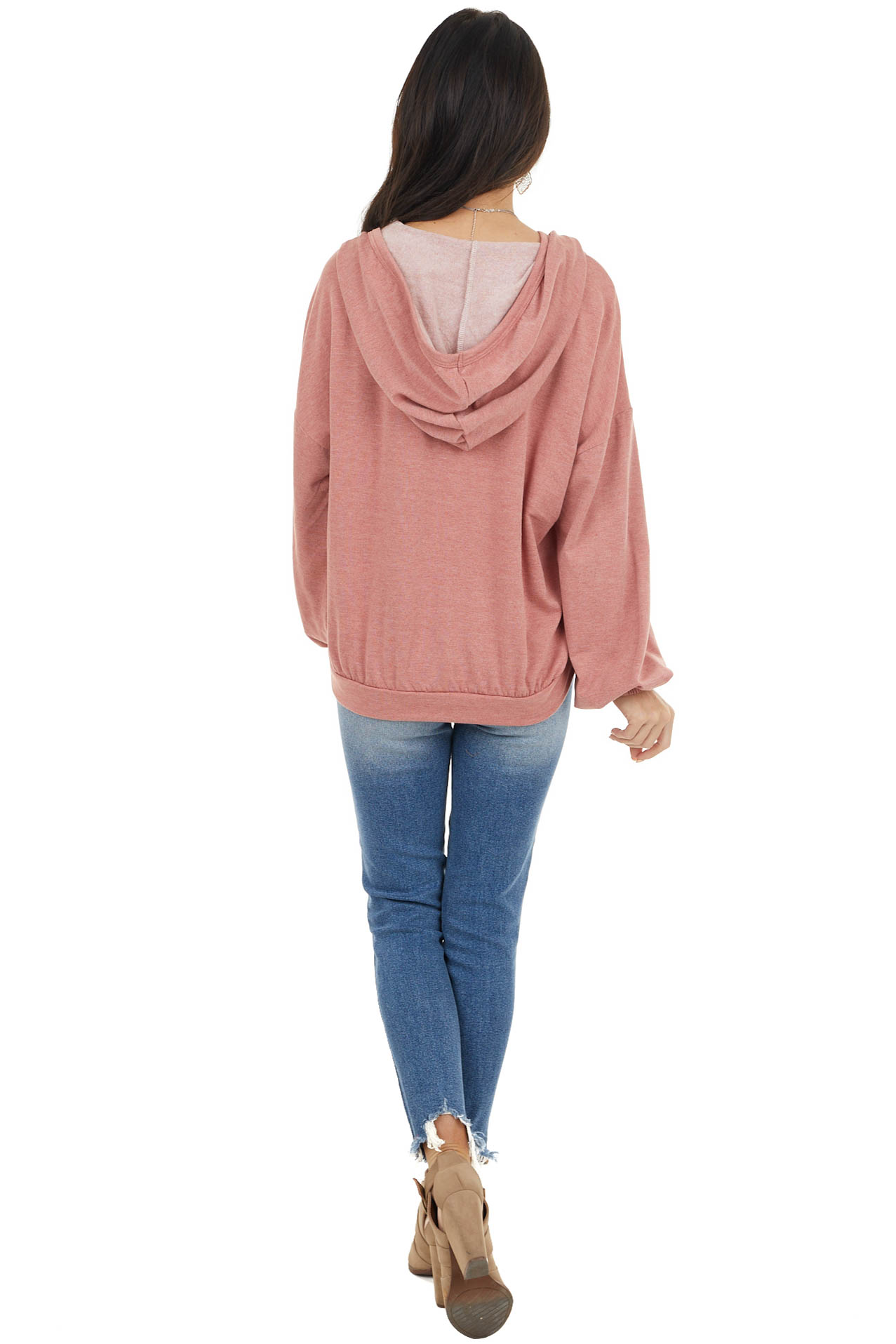 Dusty Coral Hooded Top with V Neck and Front Tie Detail