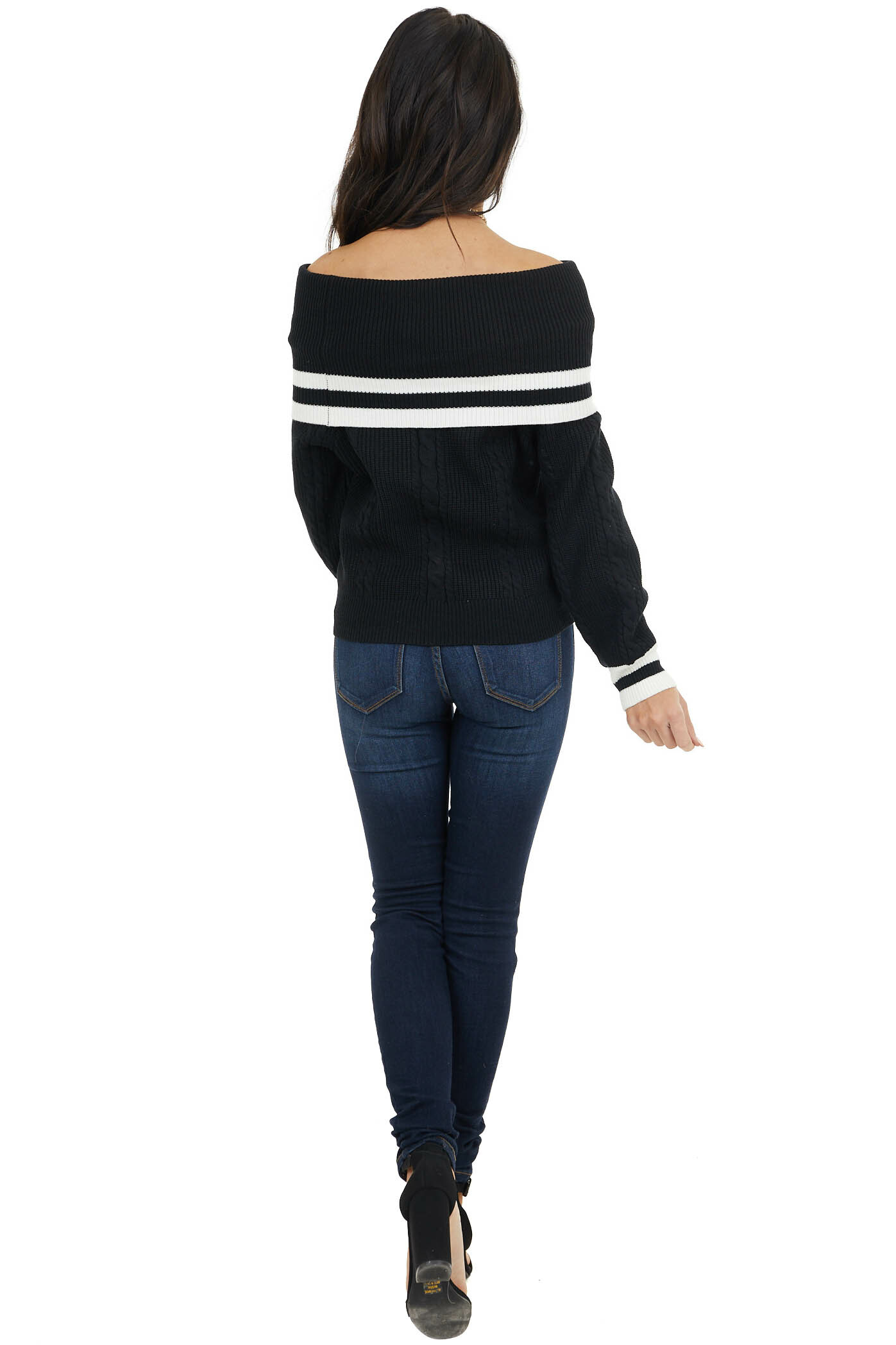 Black Cable Knit Off Shoulder Sweater with White Stripes