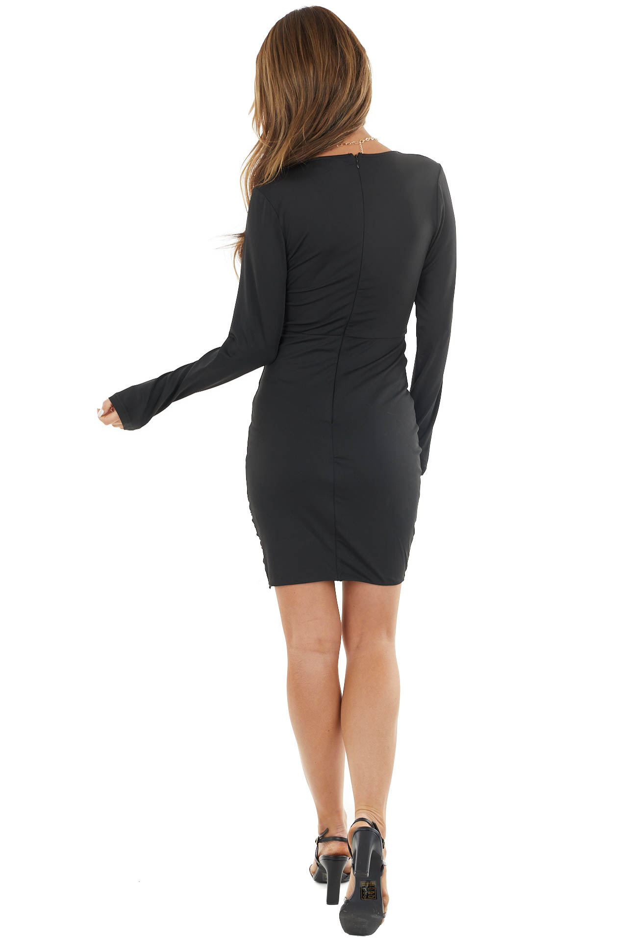 Black Long Sleeve Short Dress with V Neckline and Ruching