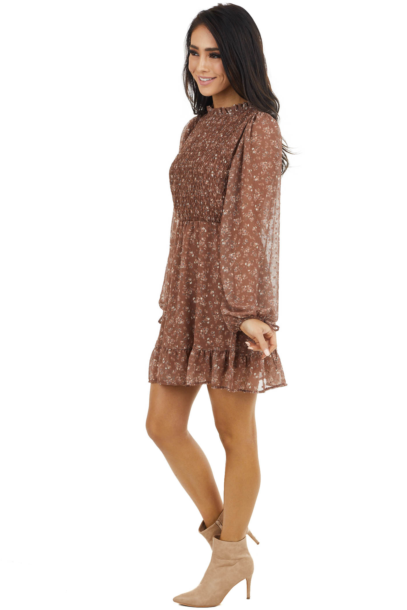 Walnut Floral Print Mini Dress with Bubble Sleeves