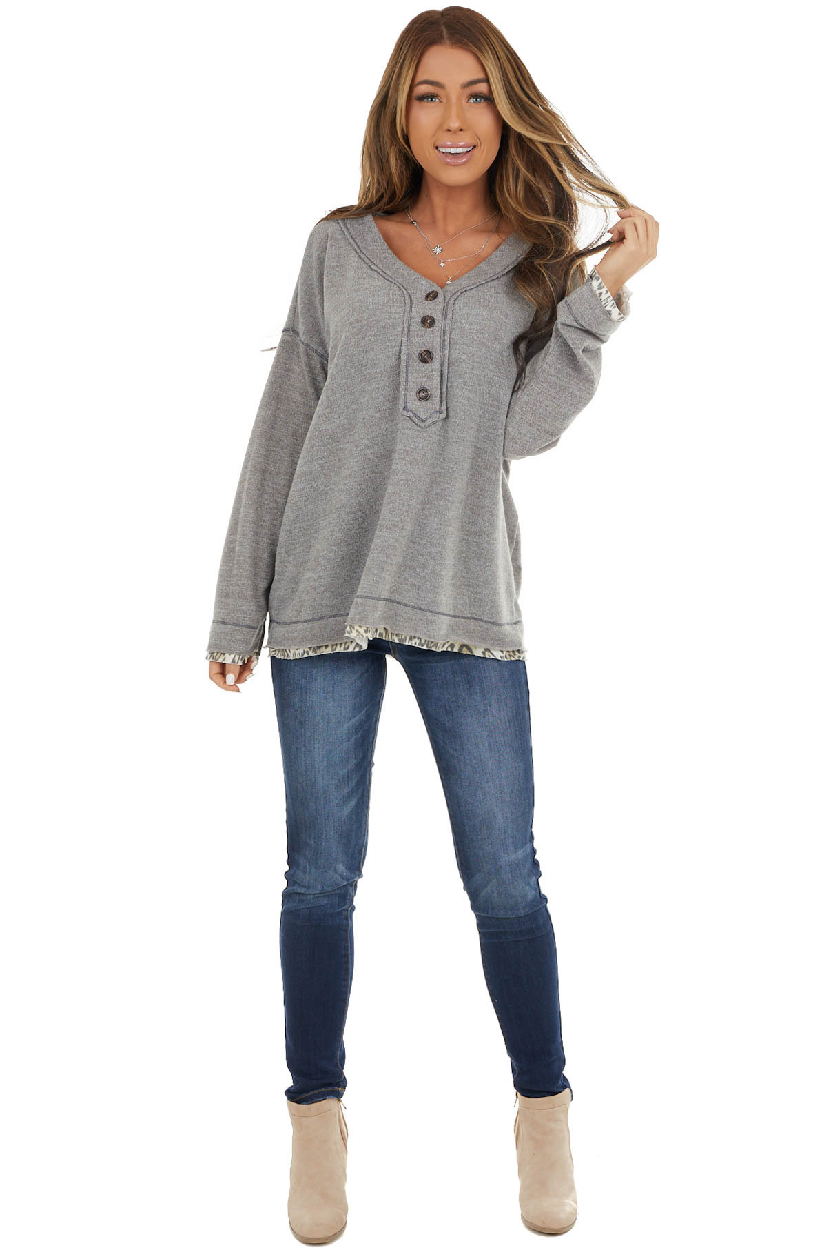 Stone Grey Long Sleeve Top with V Neck and Button Details