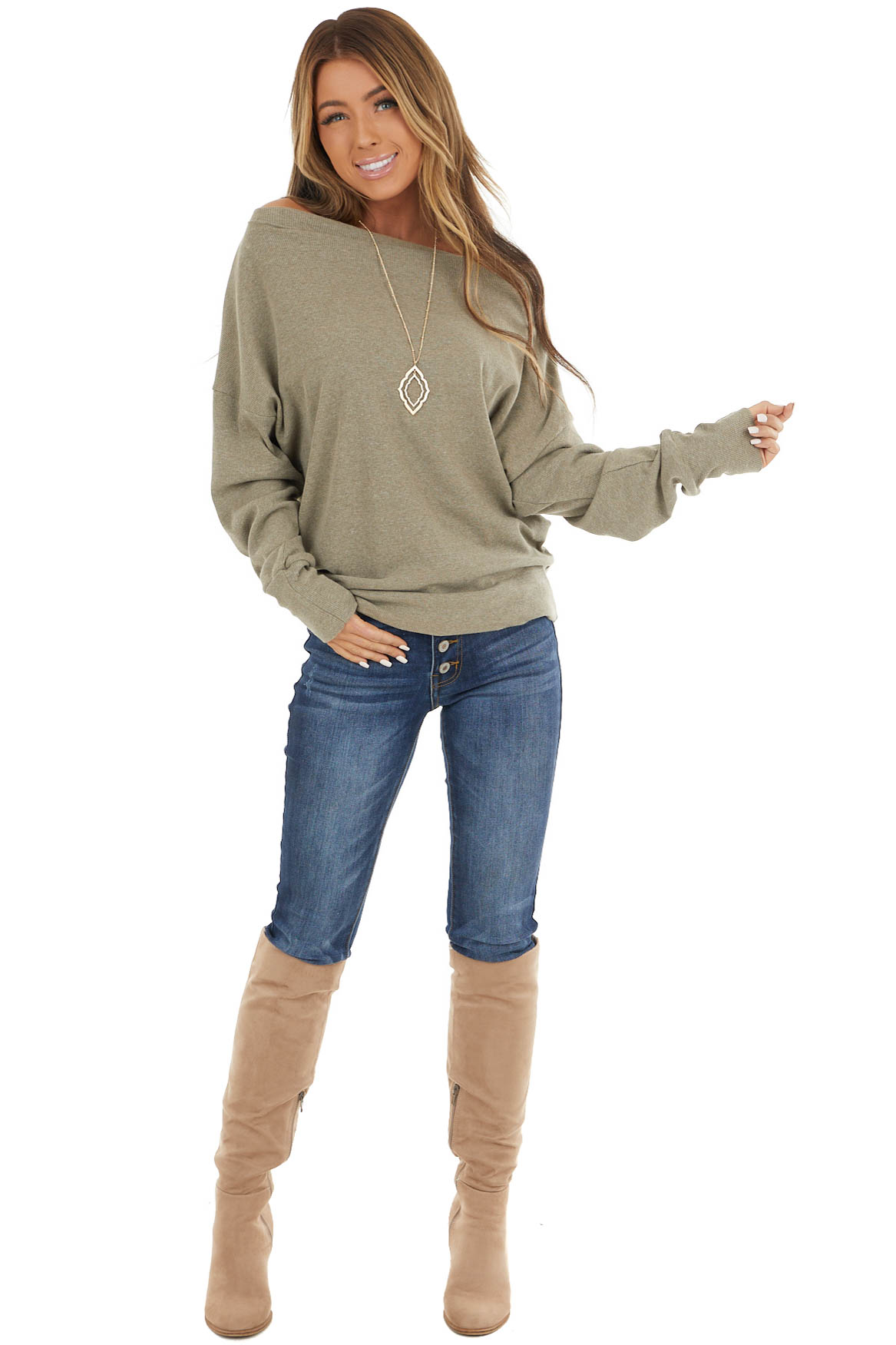 Faded Olive Boatneck Ribbed Knit Top with Zip Up Shoulder