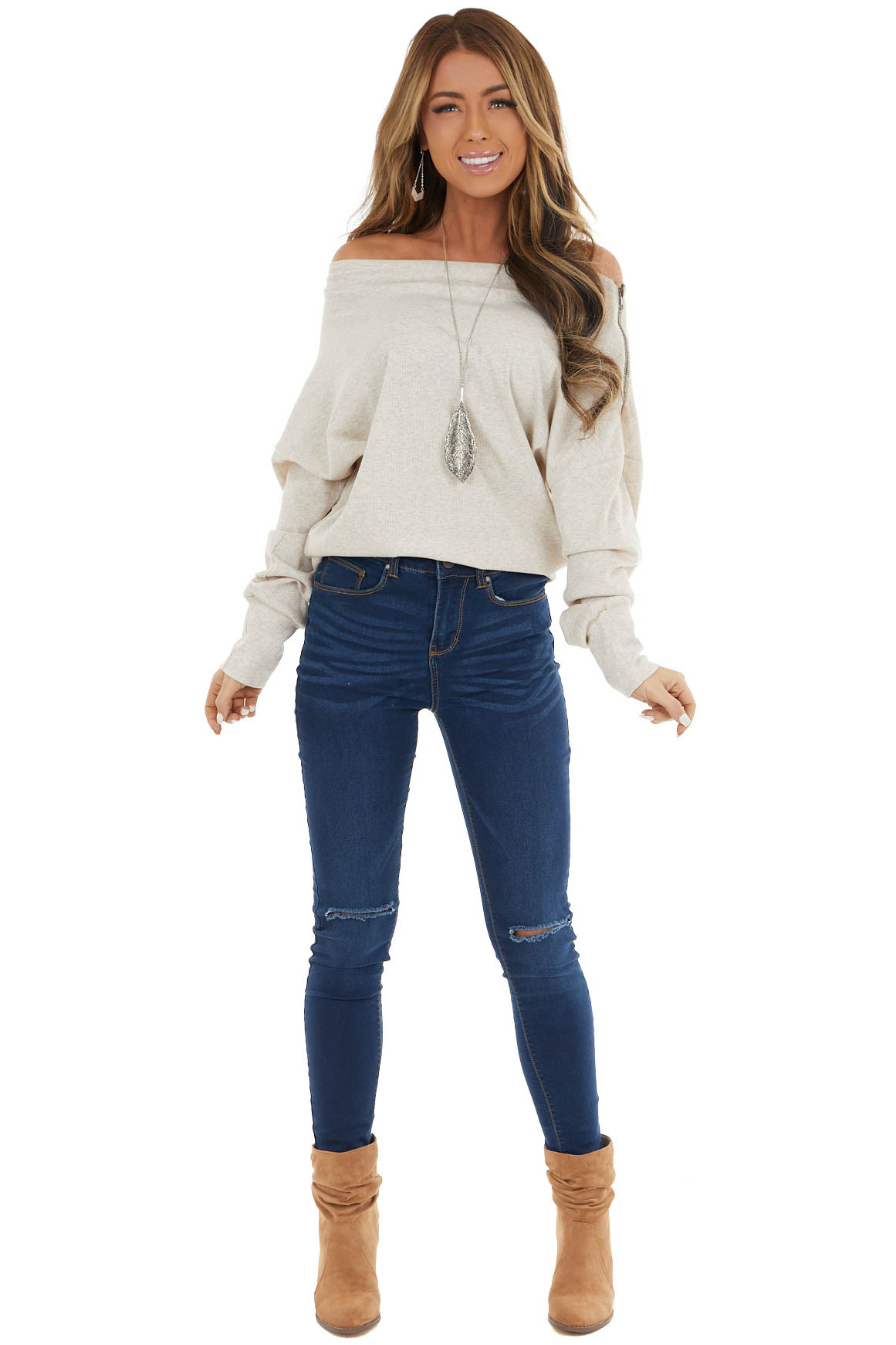 Oatmeal Off Shoulder Ribbed Knit Top with Zipper Detail