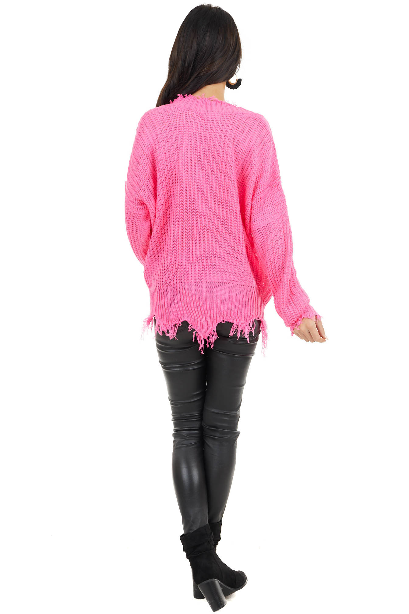 Hot Pink V Neck Knit Sweater with Distressed Details