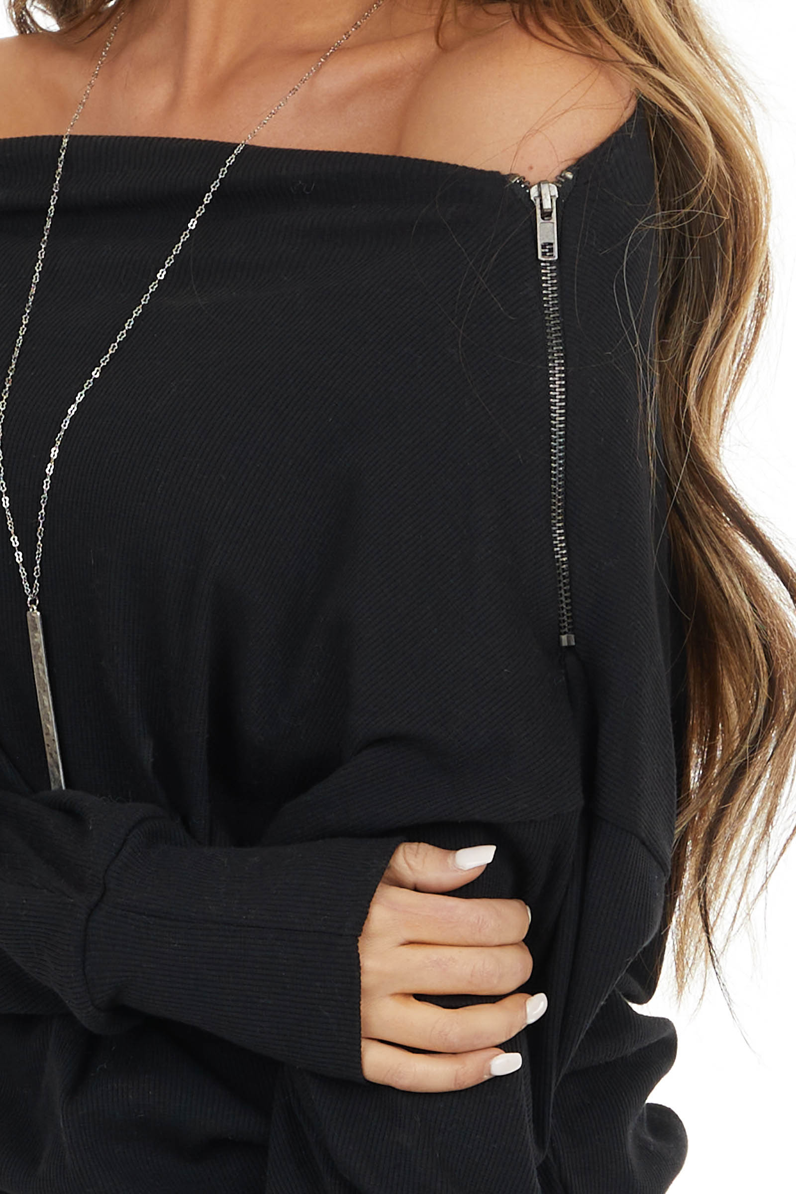 Black Off Shoulder Ribbed Knit Top with Zipper Detail