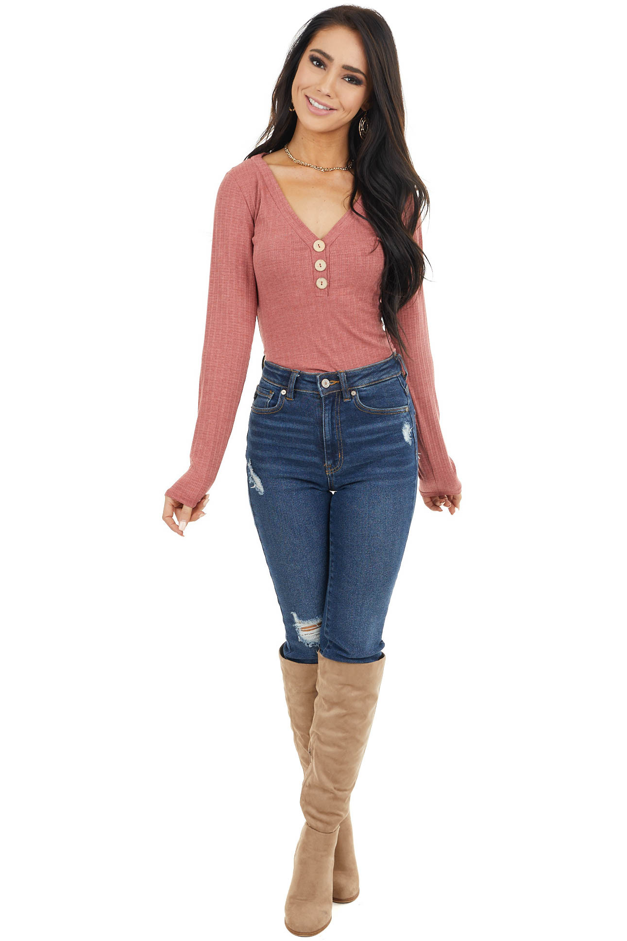 Dusty Marsala Long Sleeve Knit Bodysuit with Button Detail