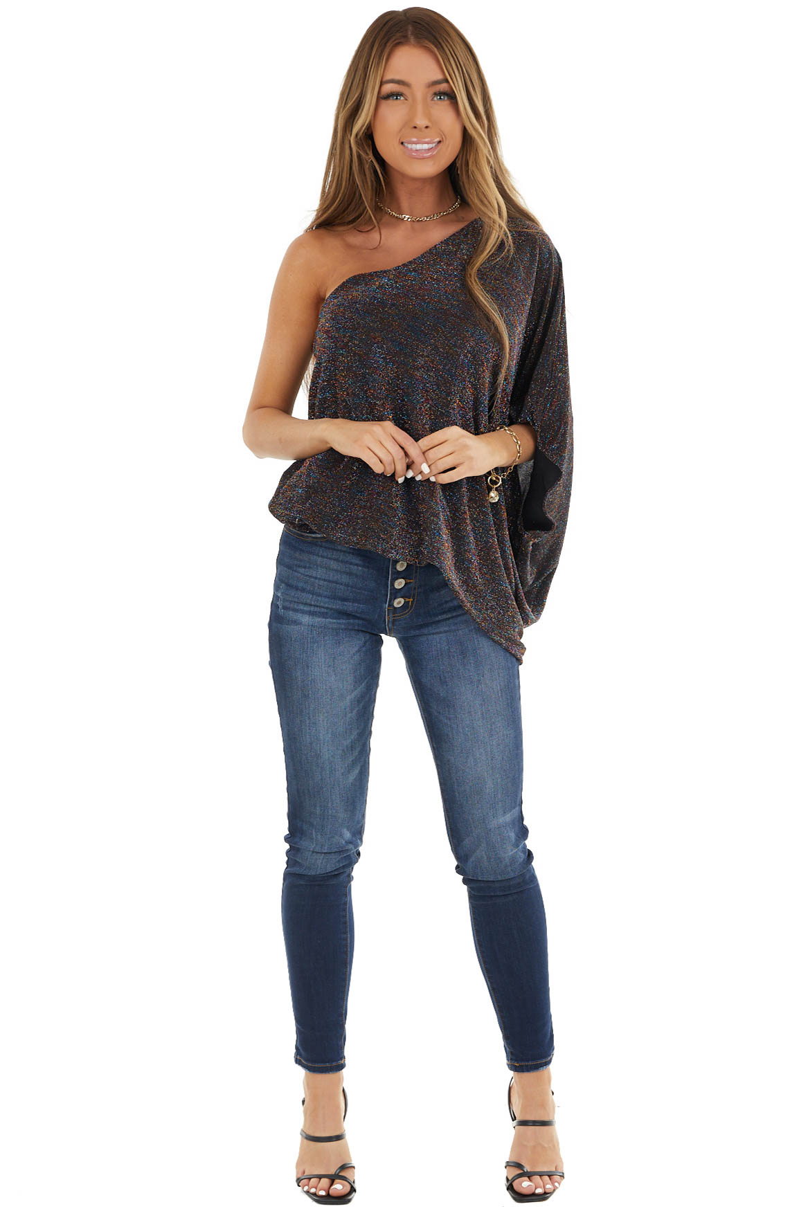 Black Multicolored Glitter Top with One Shoulder Detail