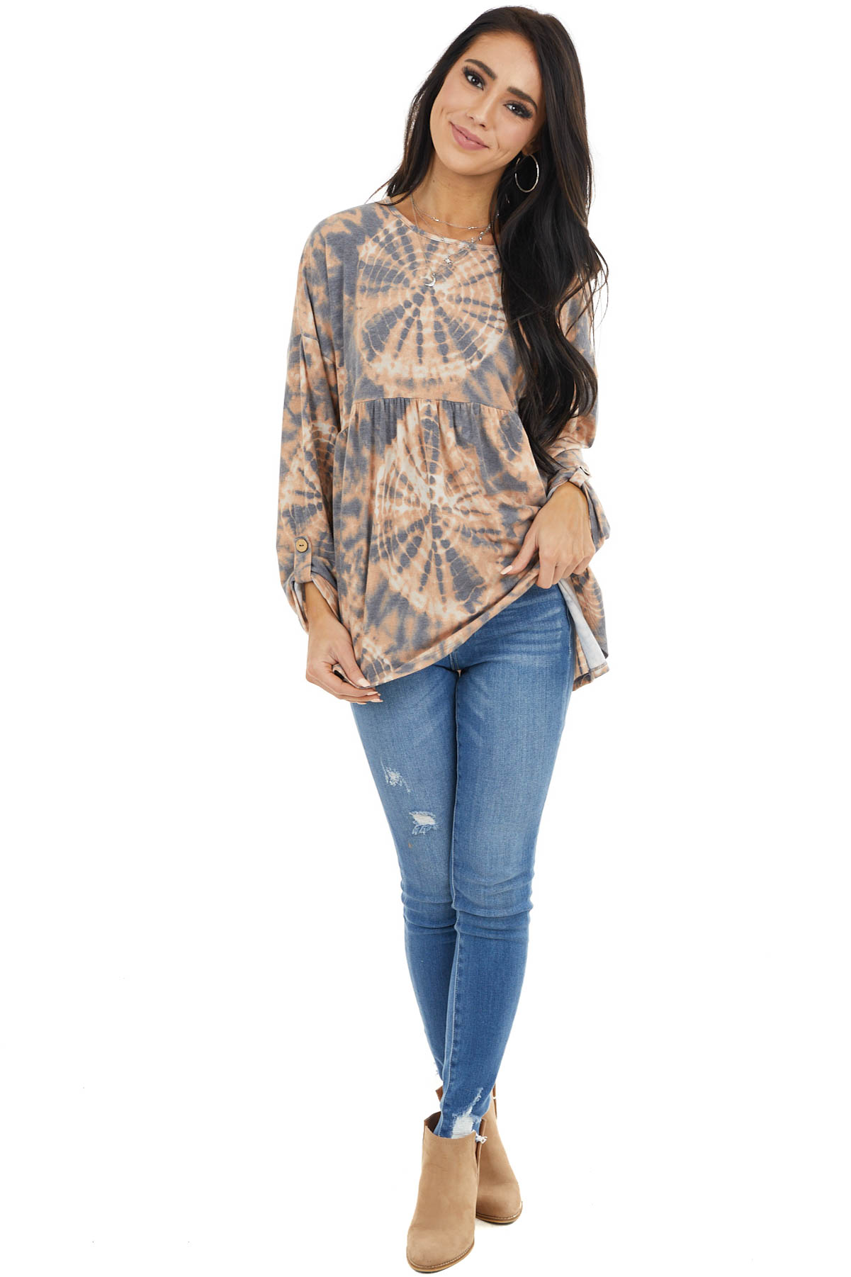 Rust and Charcoal Tie Dye Baby Doll with Rolled Sleeves