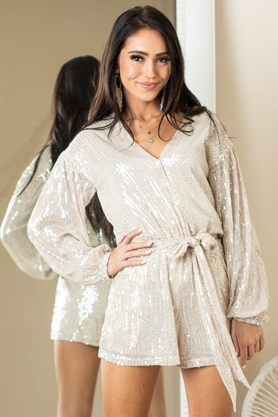 Champagne Sequin Surplice Long Sleeve Romper with Waist Tie