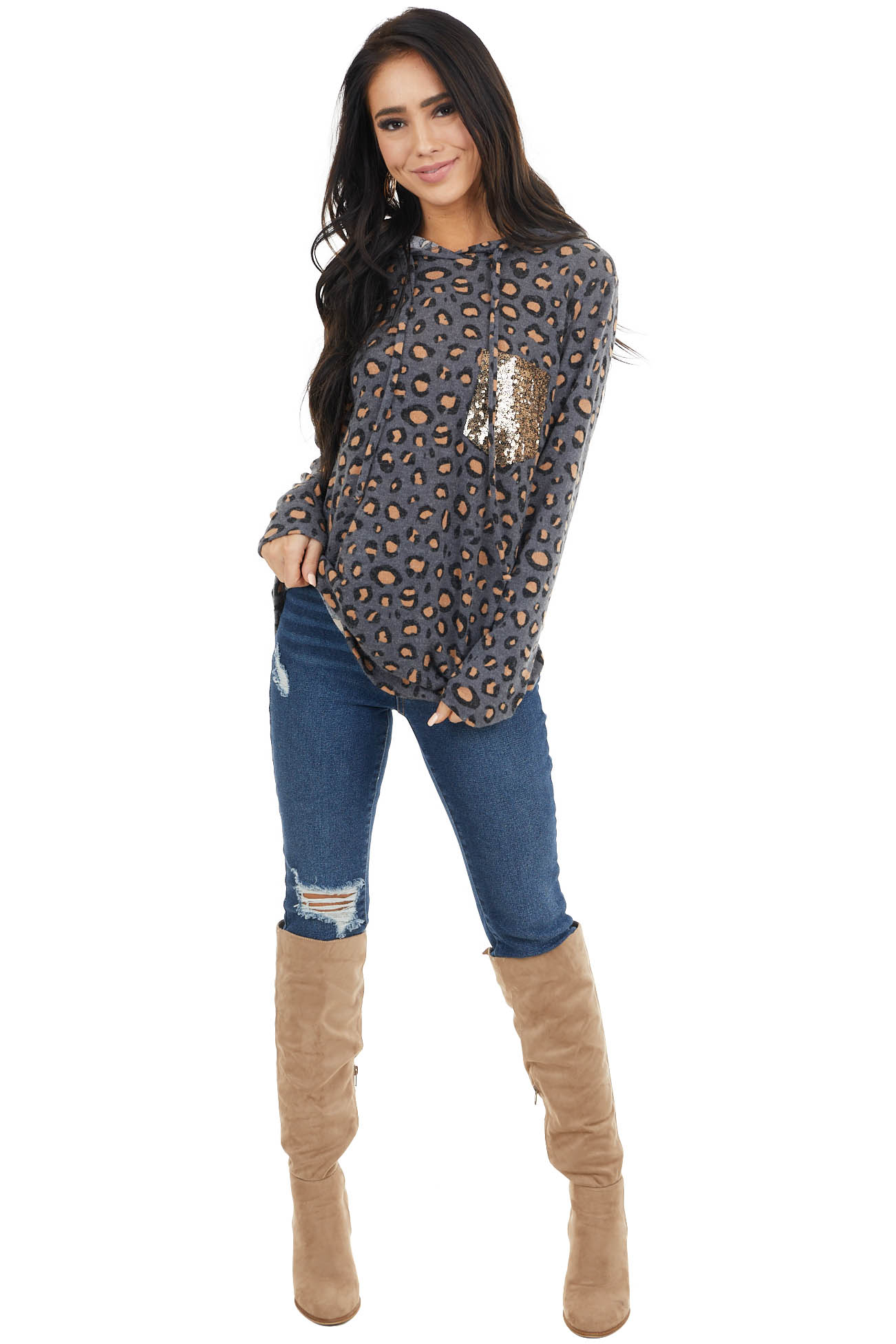 Charcoal Leopard Print Top with Sequin Pocket Detail