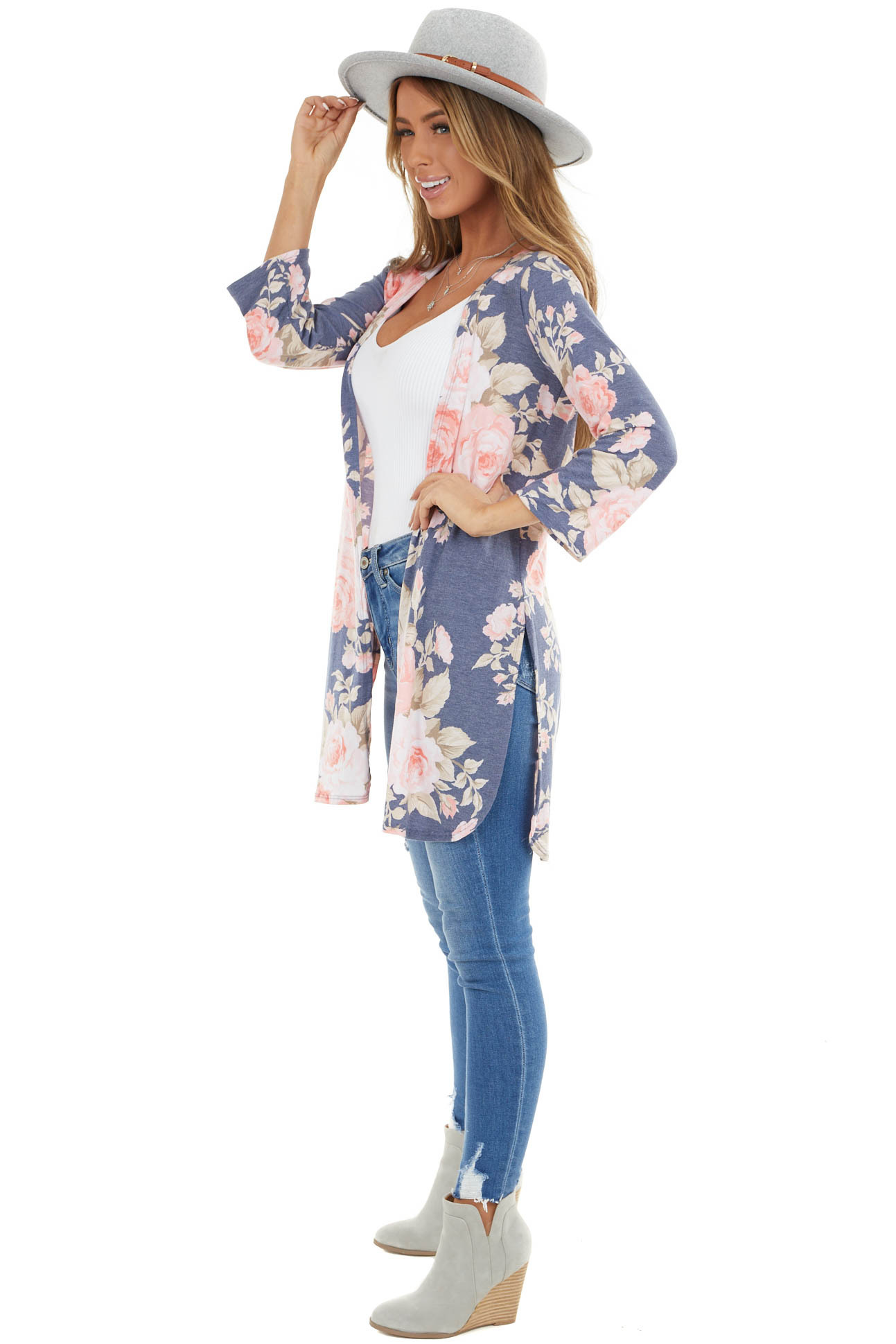 Navy and Blush Floral Print Open Cardigan with Side Slits