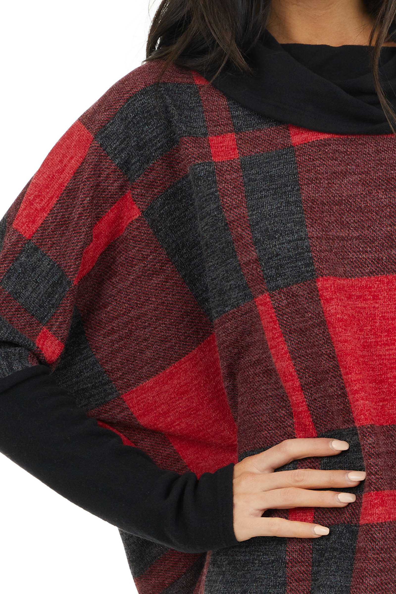 Crimson and Charcoal Buffalo Plaid Long Sleeve Oversized Top