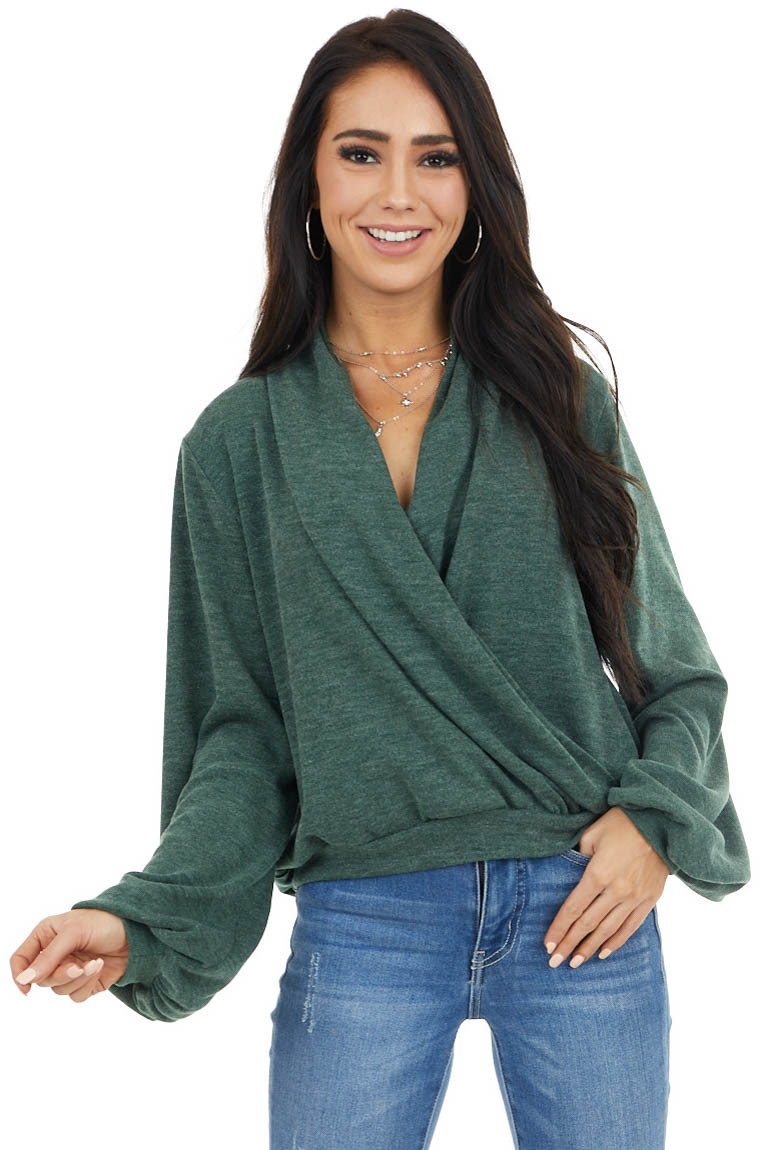 Vintage Pine Surplice Knit Top with Long Bubble Sleeves