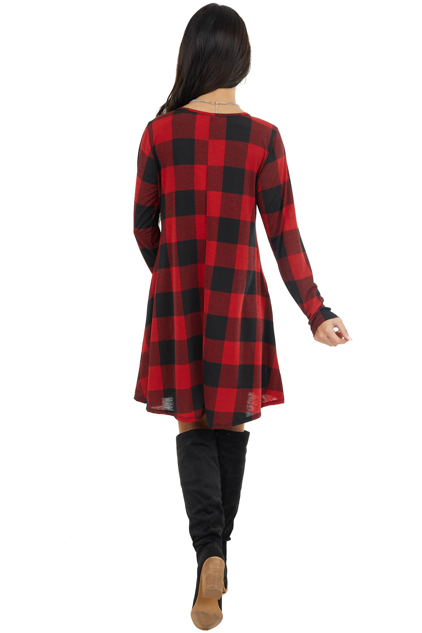 Crimson Red Buffalo Plaid Long Sleeve Knit Dress