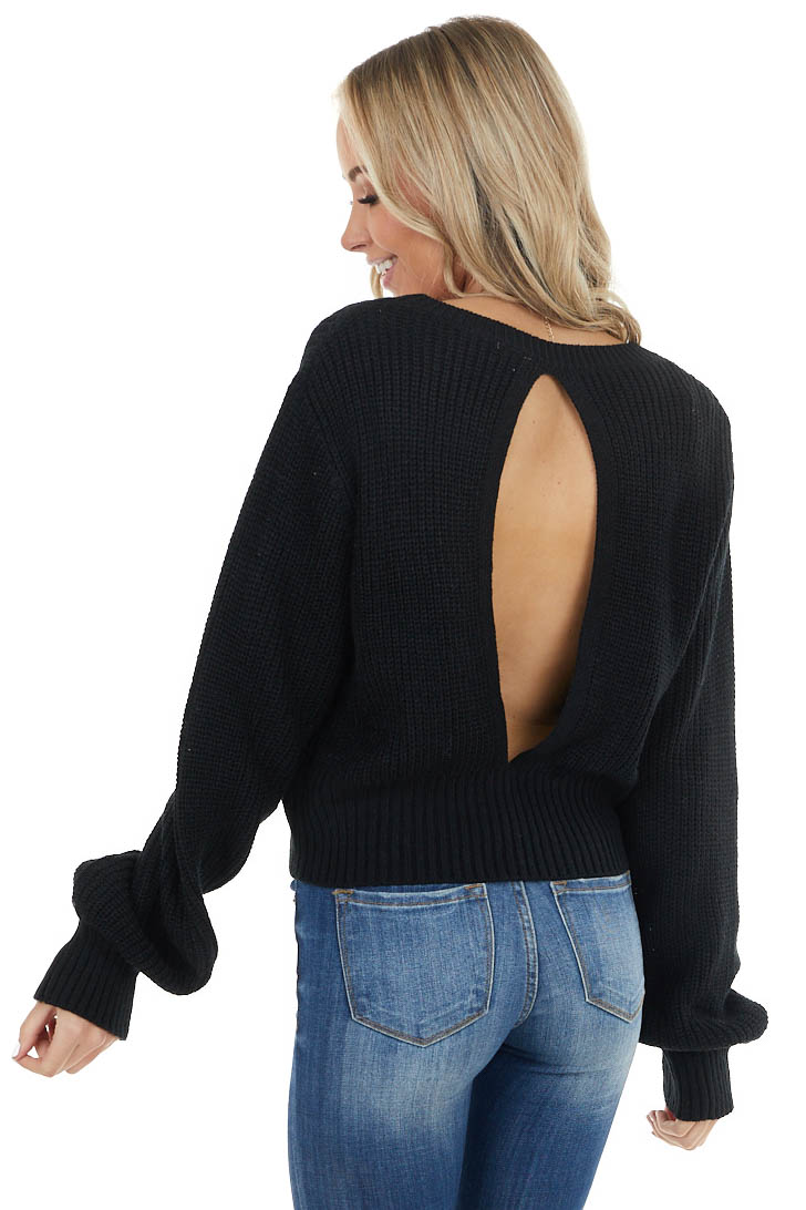 Black Long Bubble Sleeve Sweater with Back Cutout Detail