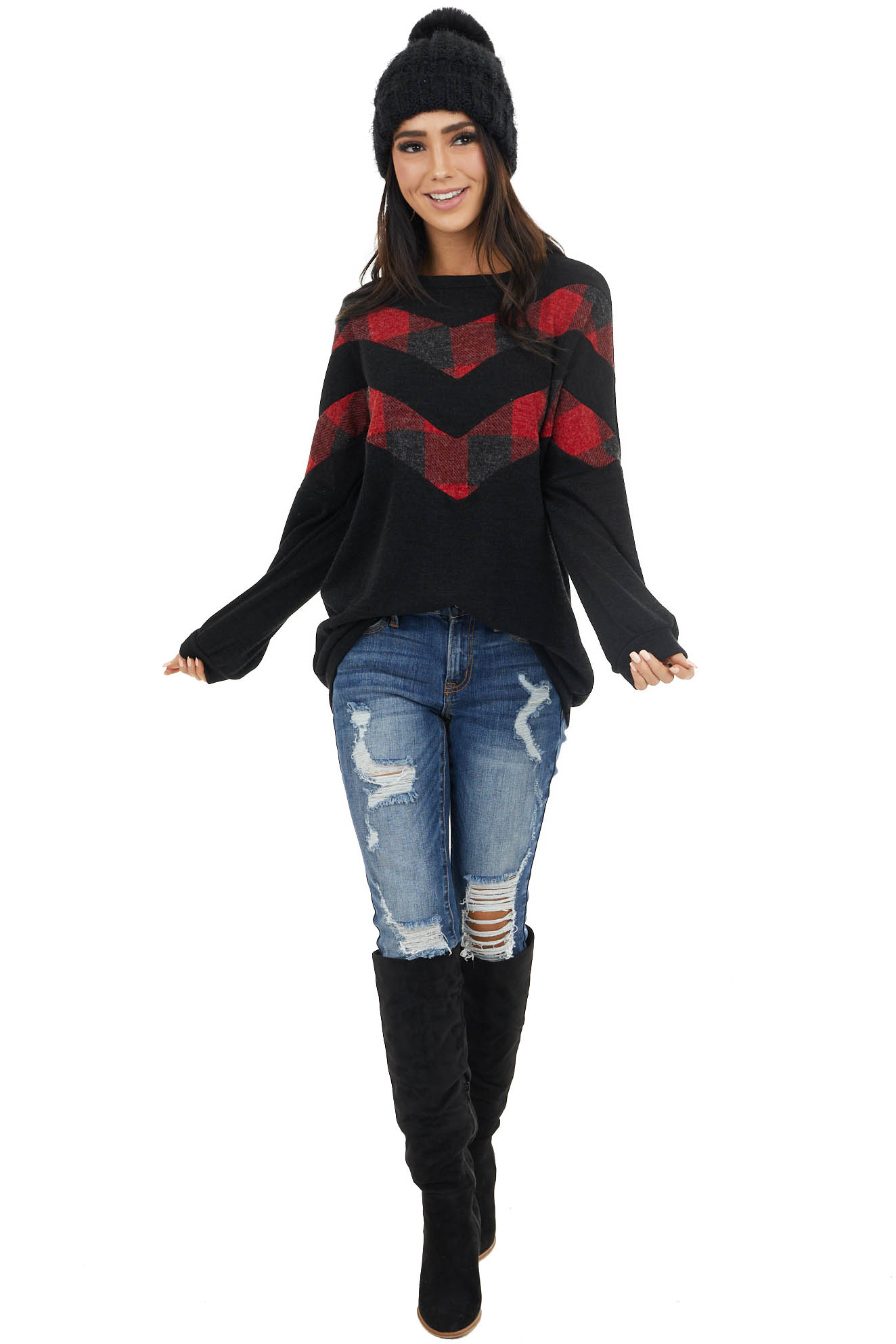 Black Long Sleeve Top with Chevron Buffalo Plaid Print