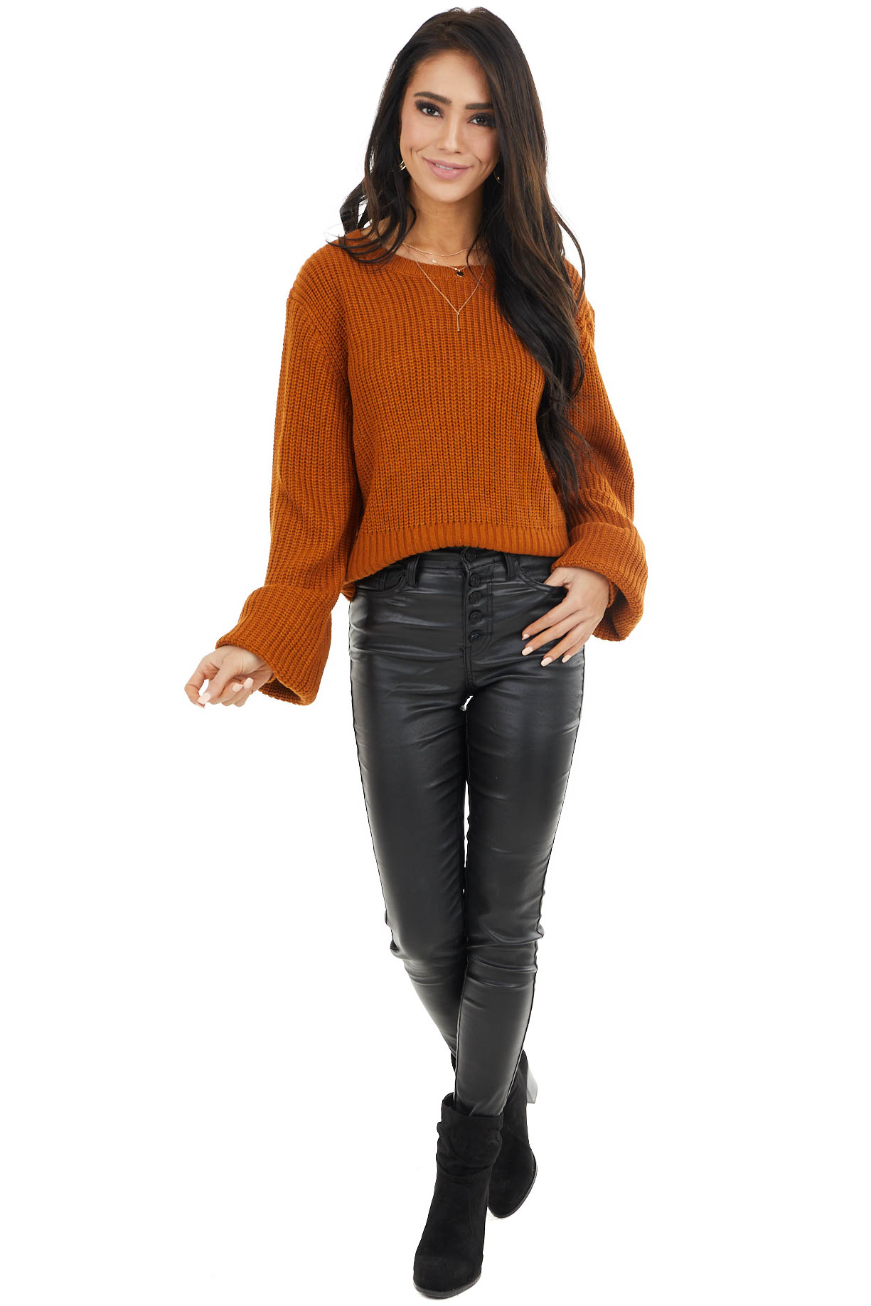 Pumpkin Spice Long Bubble Sleeve Sweater with Back Cutout