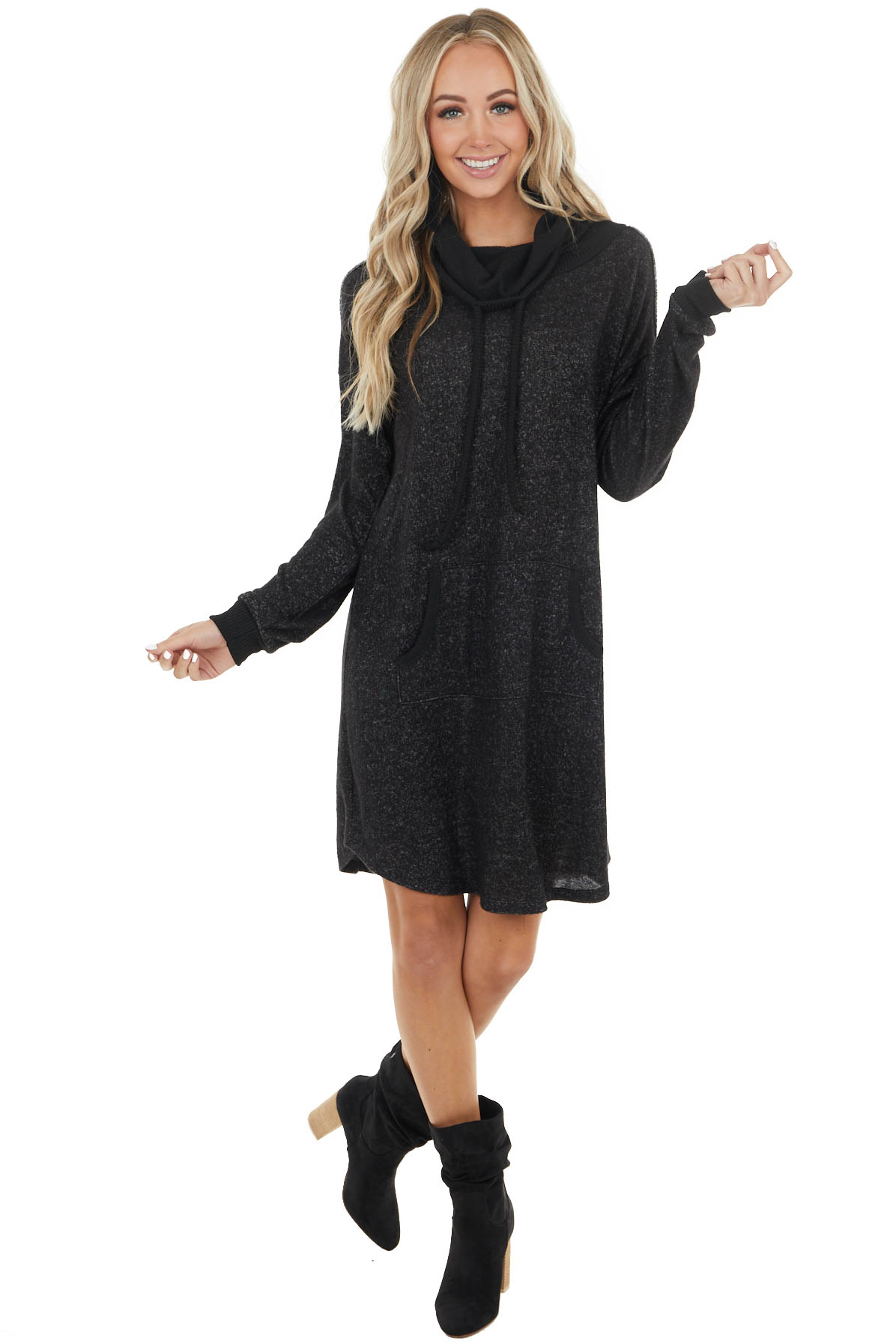 Black Two Tone Lightweight Sweater Dress with Cowl Neck