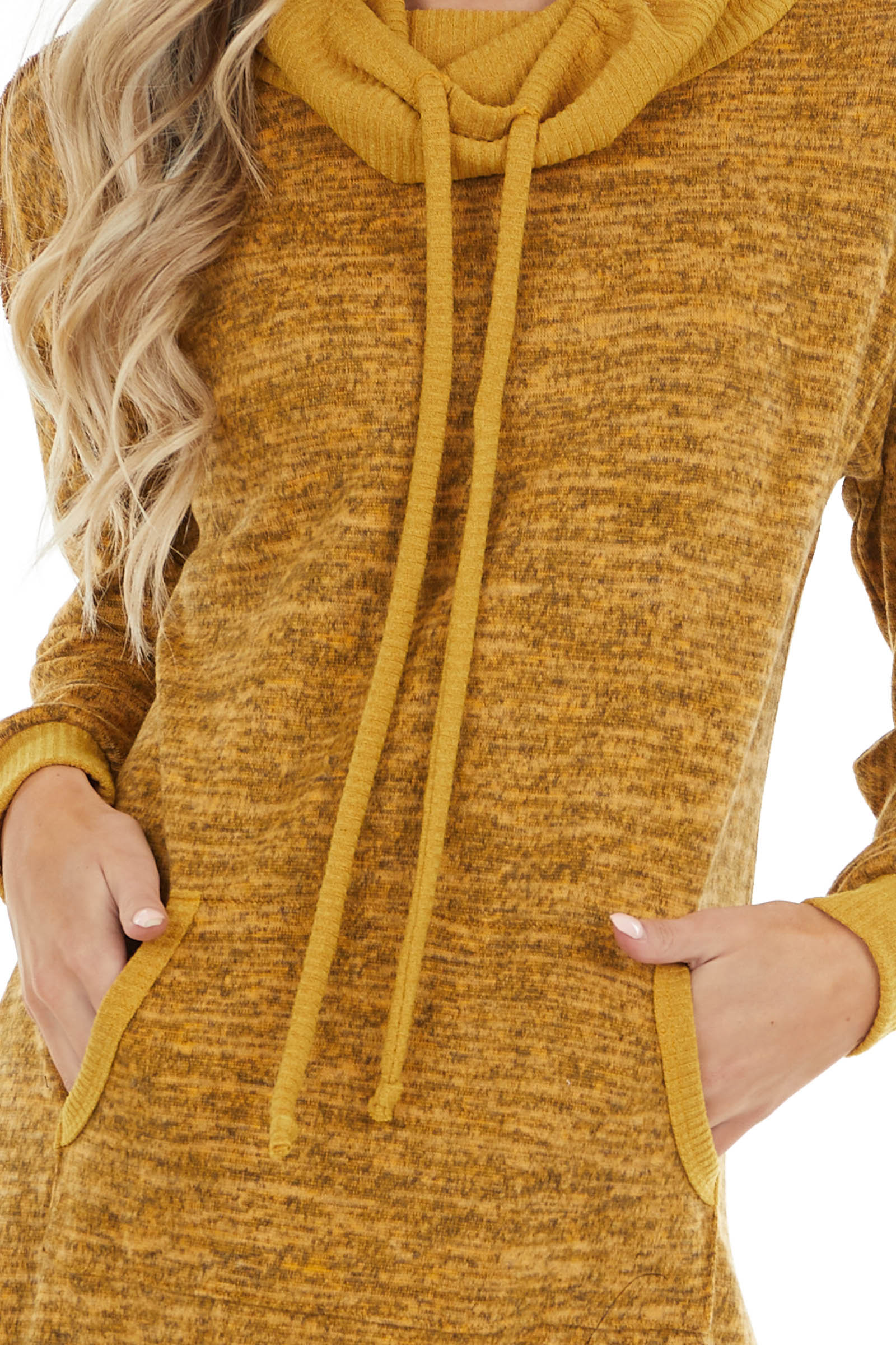 Mustard Two Tone Lightweight Sweater Dress with Cowl Neck