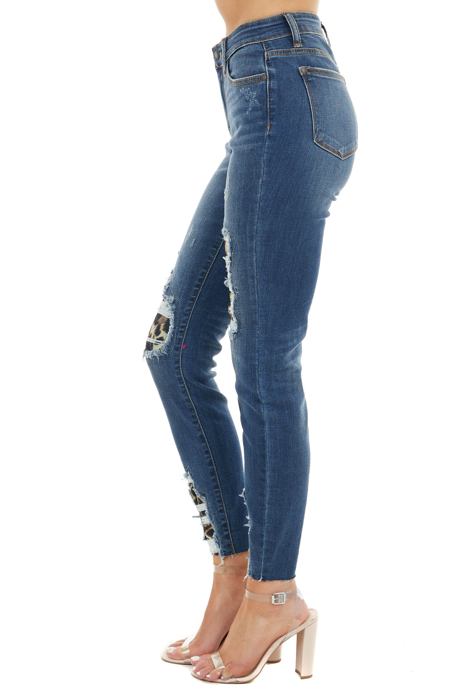 Dark Wash High Rise Ripped Skinny Jeans with Leopard Detail