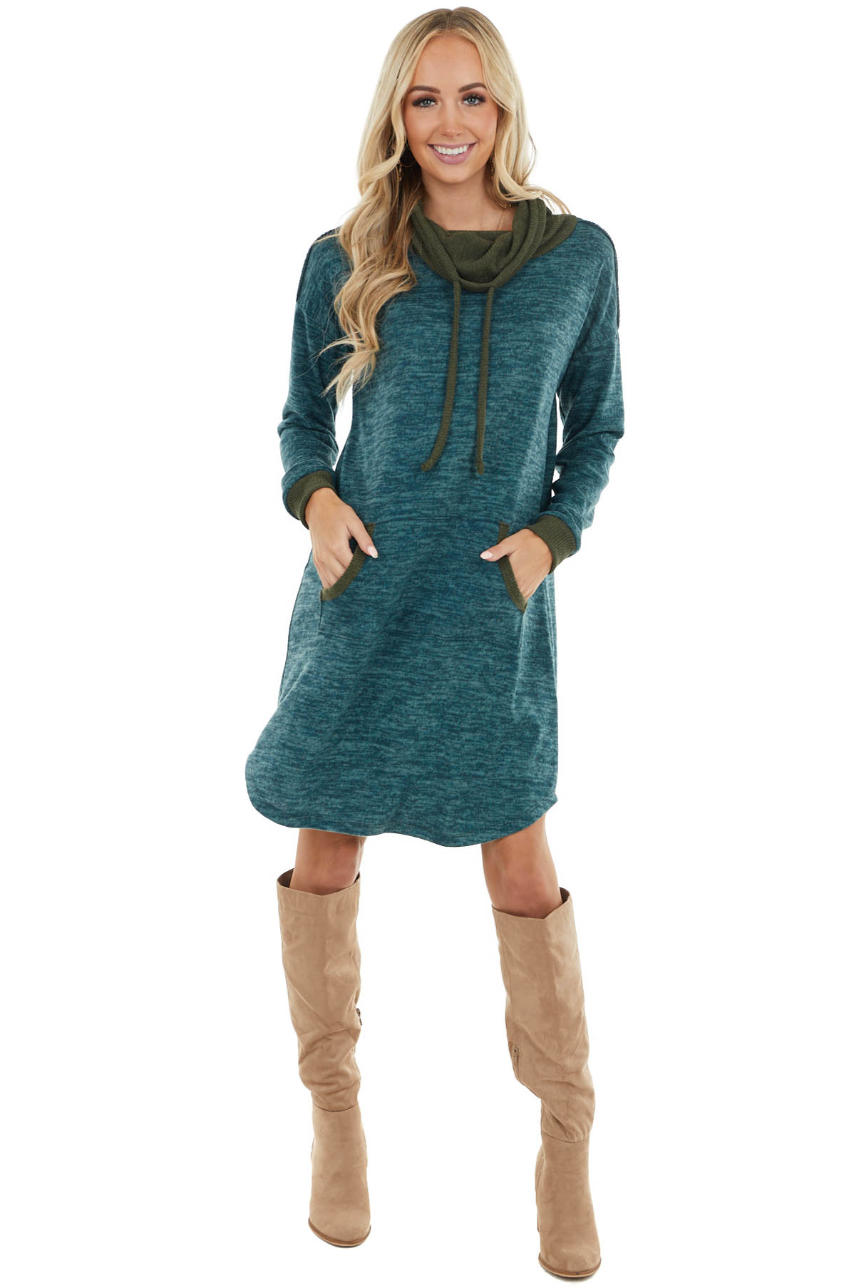 Ocean Blue Two Tone Lightweight Sweater Dress with Cowl Neck