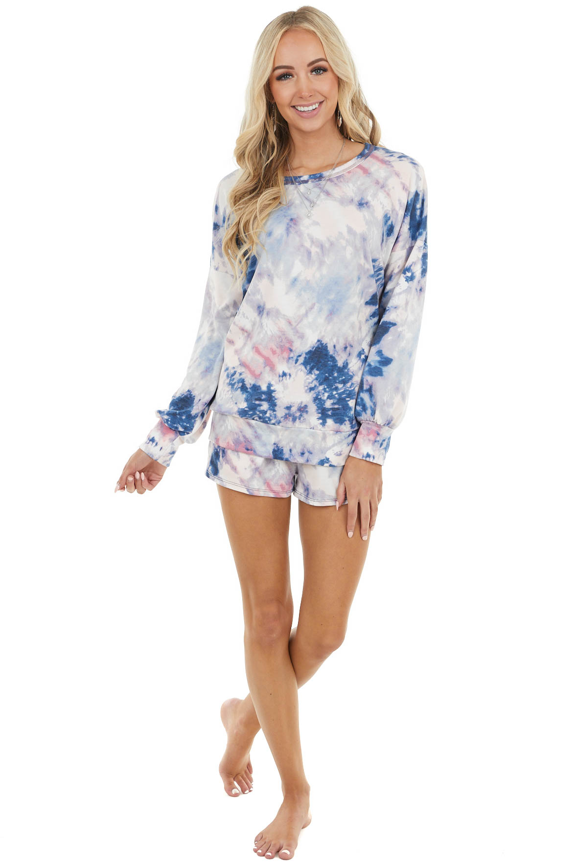 Navy and Blush Pink Tie Dye Long Sleeve Top and Short Set