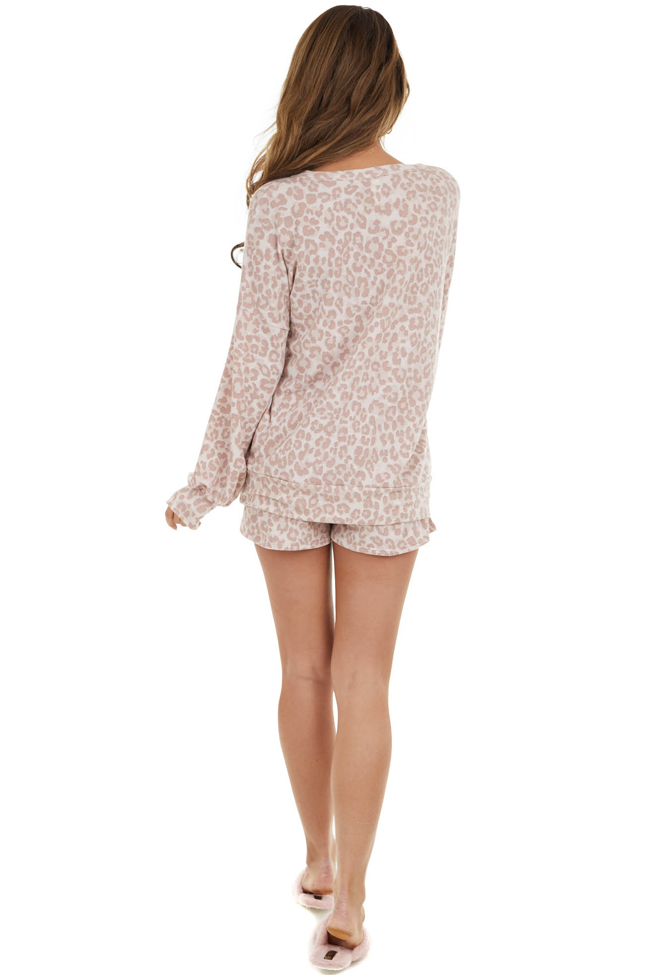 Dusty Blush Leopard Print Shorts and Loungewear Top Set