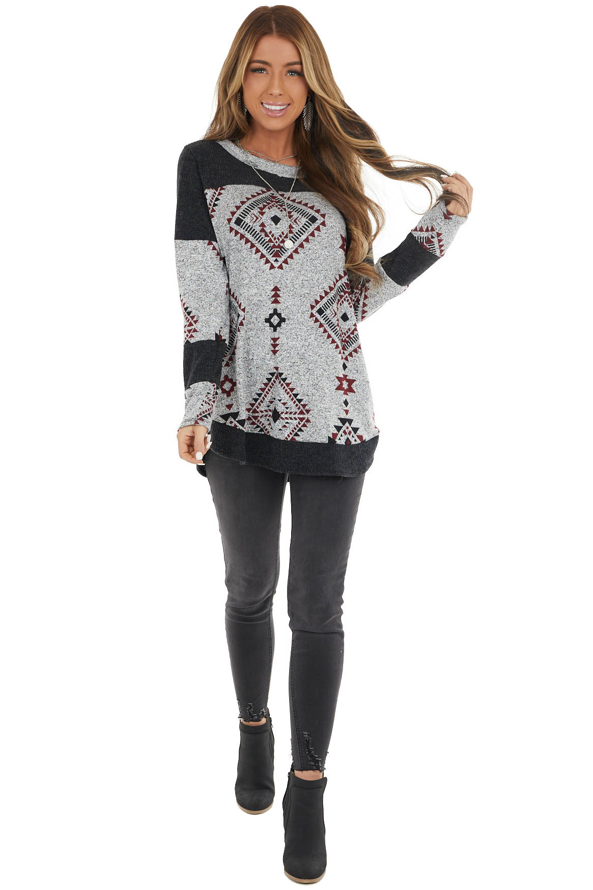 Black Two Tone Aztec Print Knit Top with Raw Edge Details