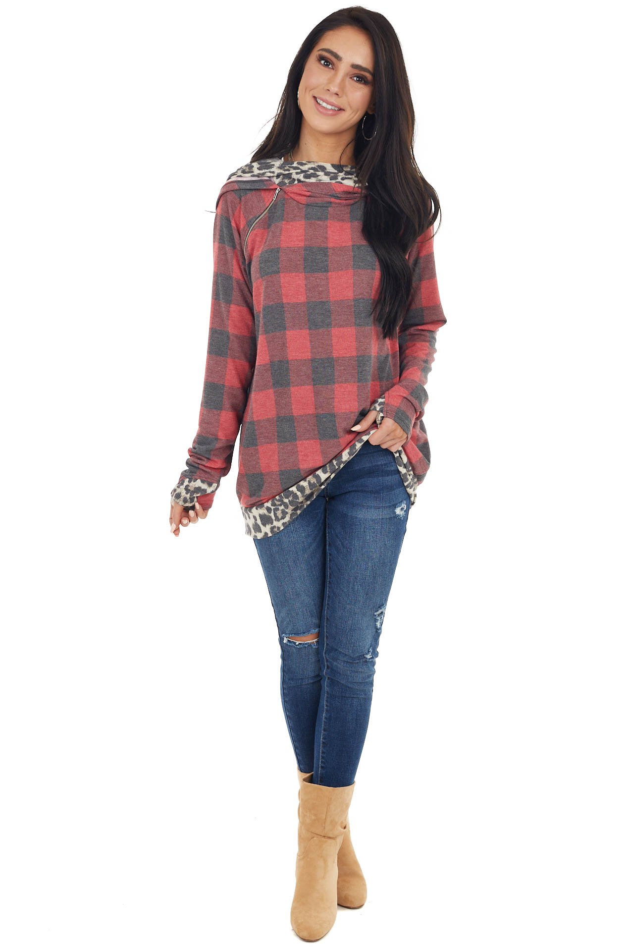 Ruby Red Buffalo Plaid Hoodie with Leopard Print Details