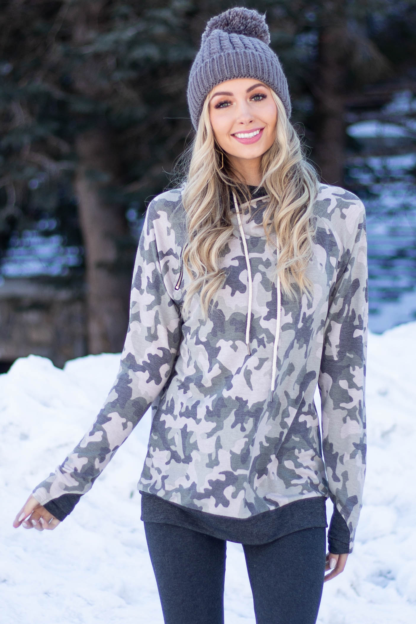 Olive Camo Long Sleeve Knit Hoodie with Zipper Detail