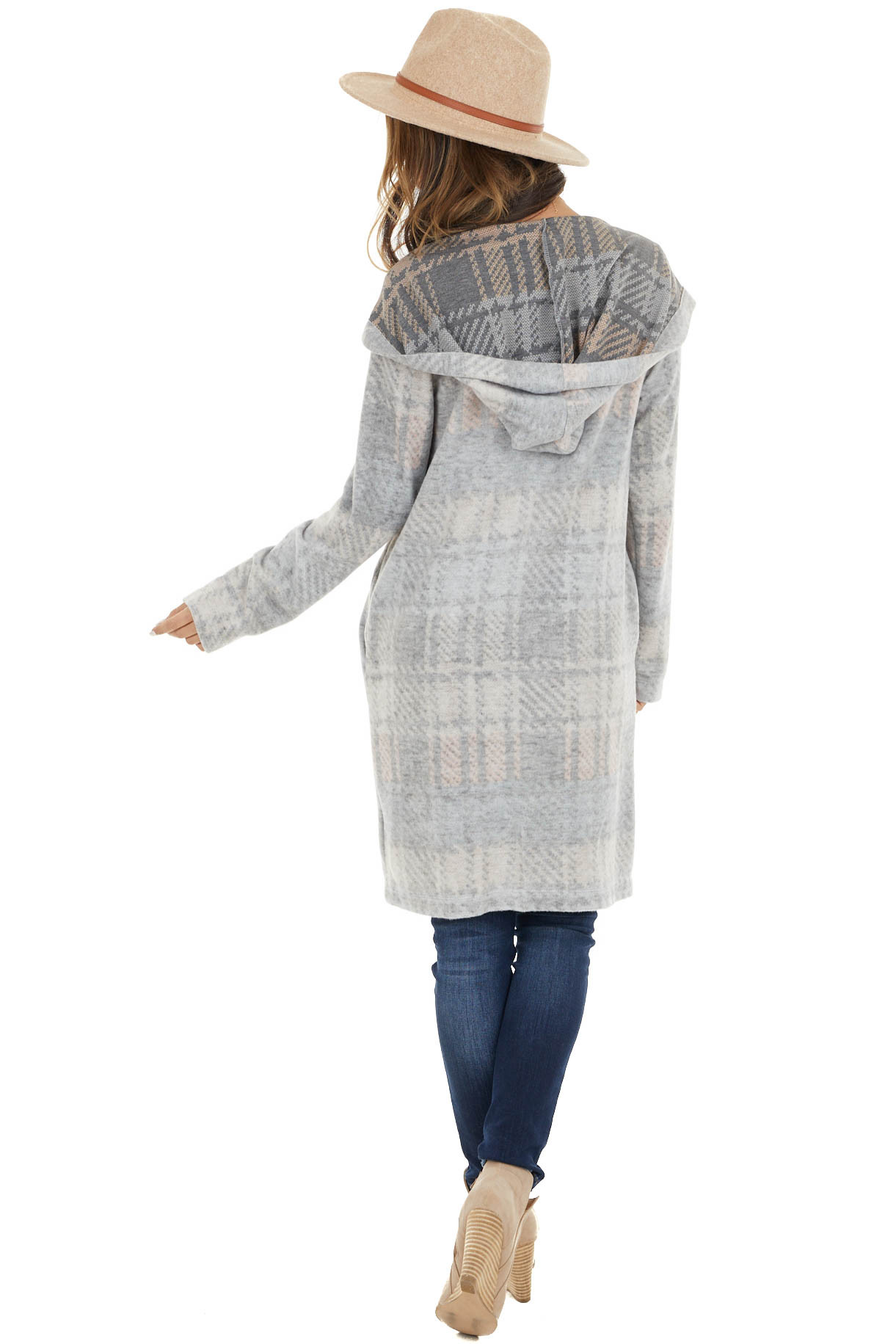 Faded Grey Multicolor Plaid Open Front Cardigan with Hood