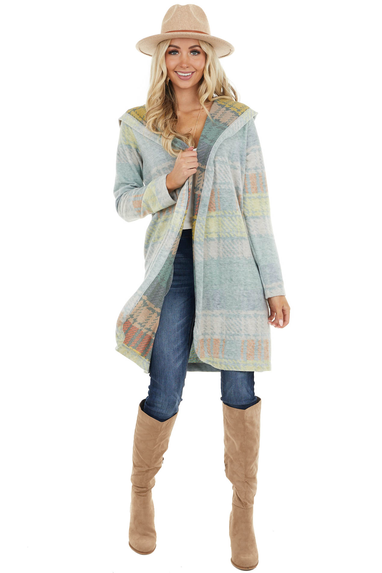 Faded Sage Multicolor Plaid Open Front Cardigan with Hood
