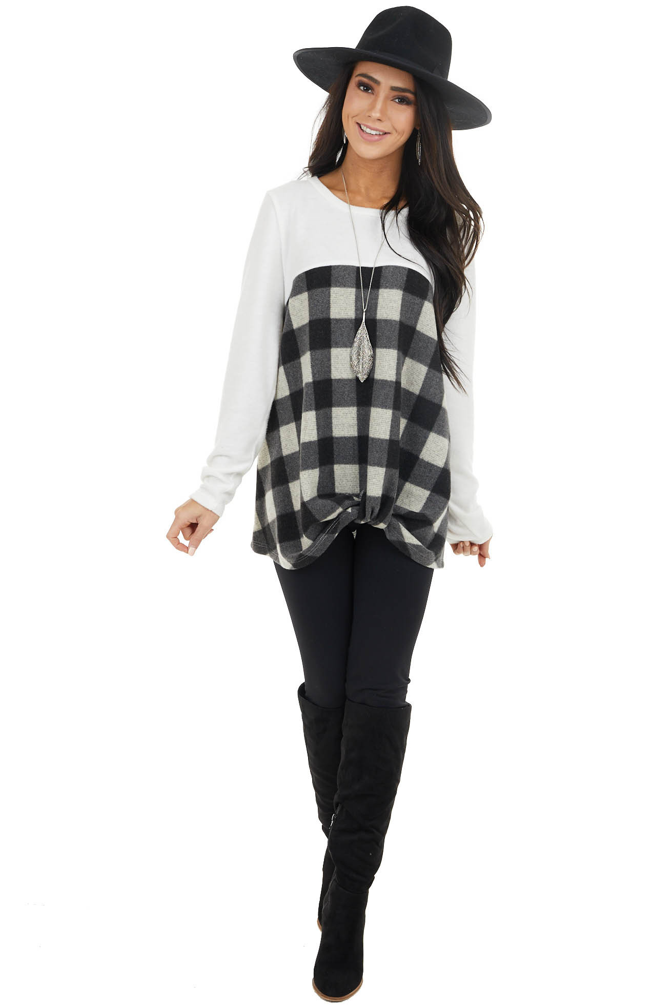 Black and Ivory Buffalo Plaid Top with Twisted Detail