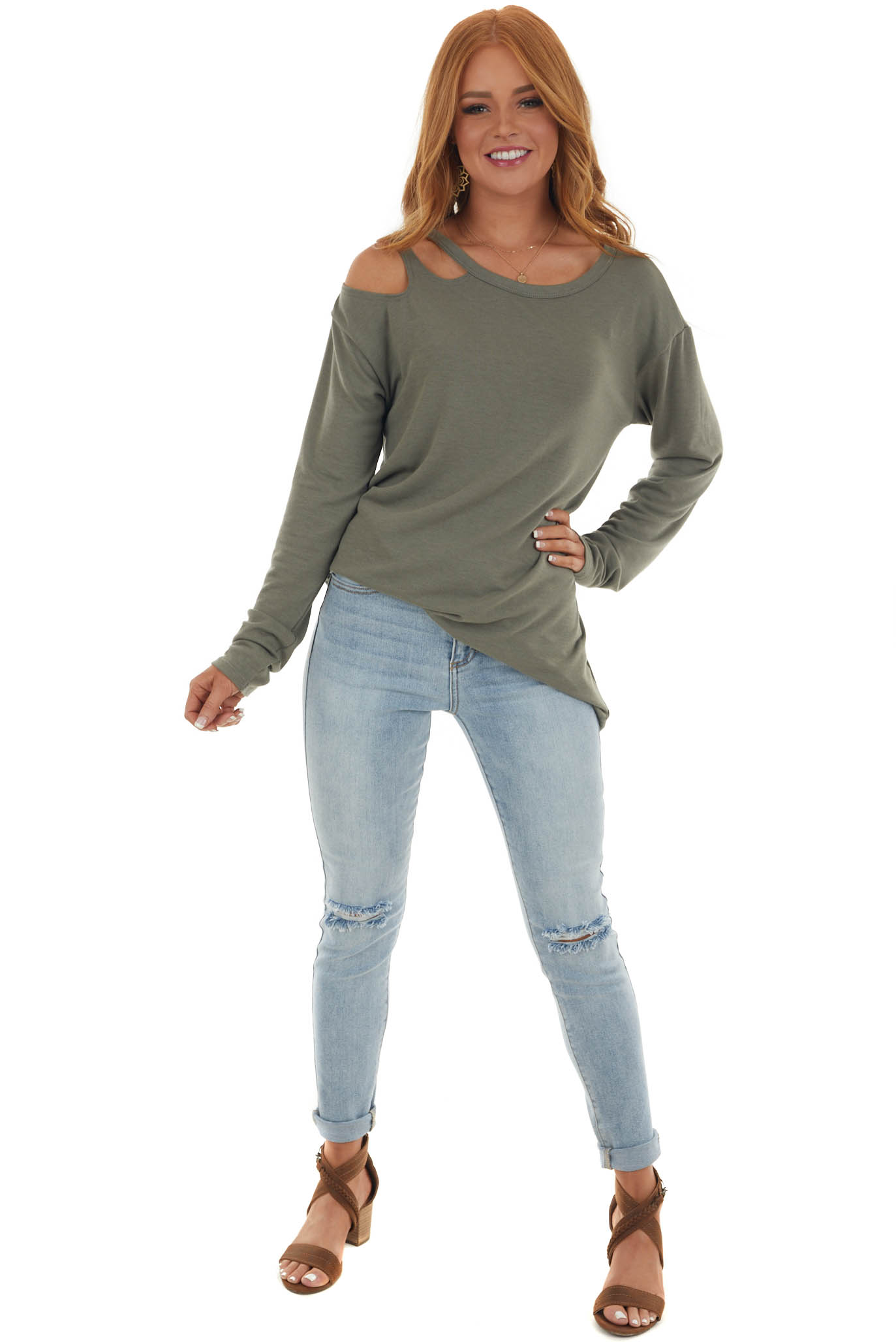 Olive Green Long Sleeve Top with Cold Shoulder Detail