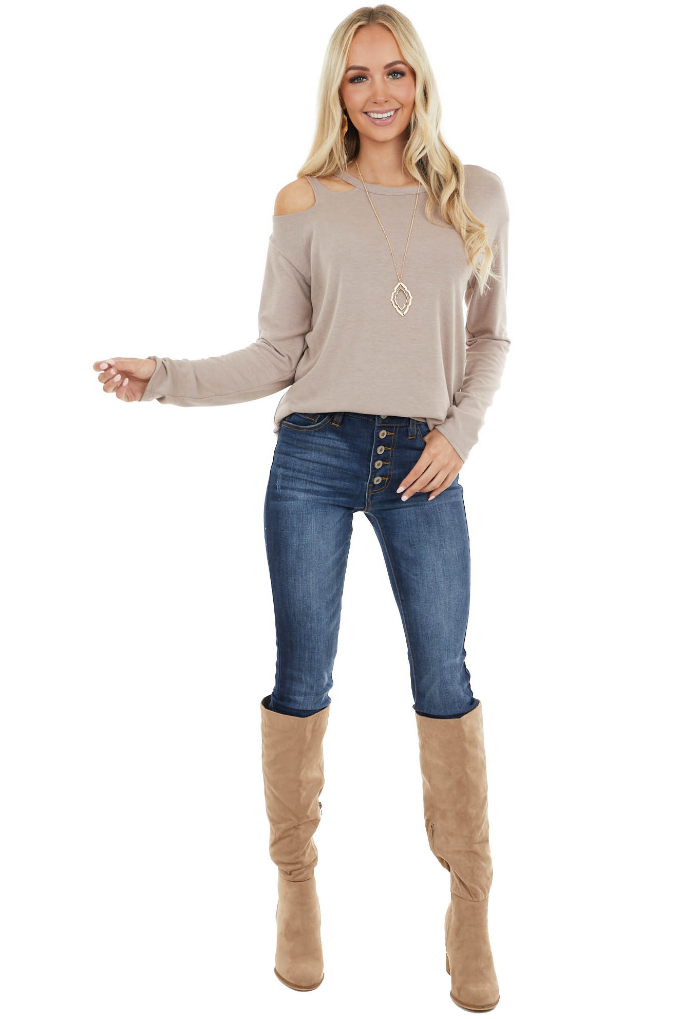 Latte Long Sleeve Top with Cold Shoulder Detail