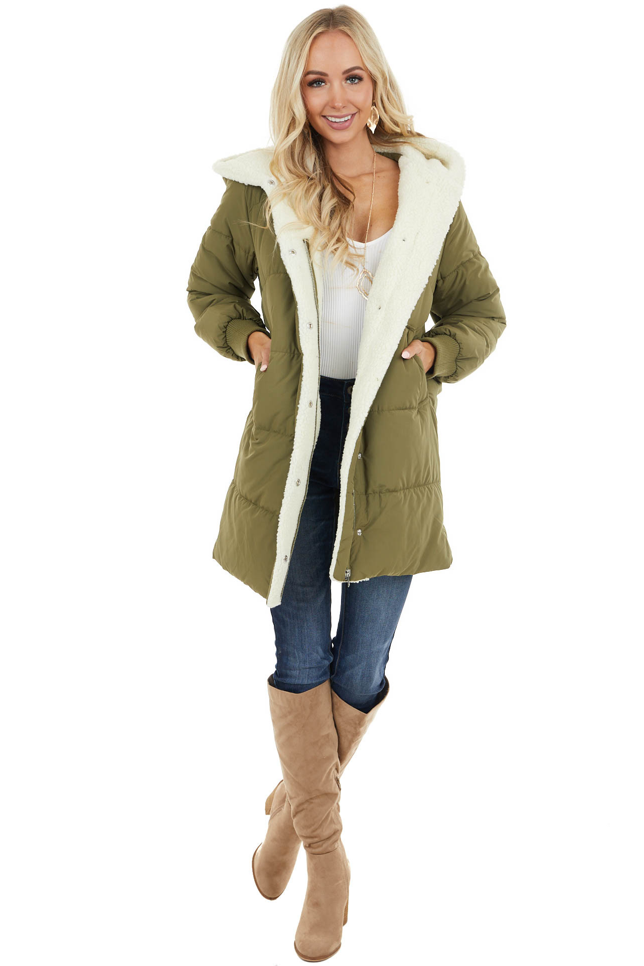 Olive Hooded Puffer Coat with Button and Zip Up Closure