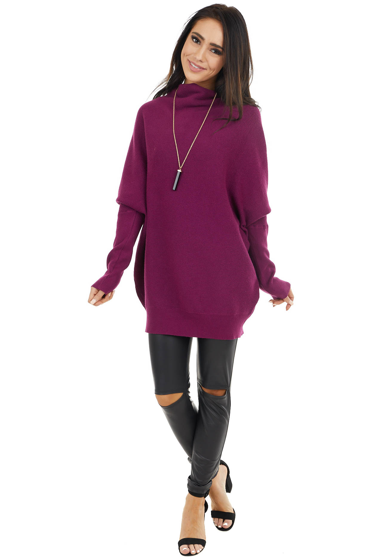 Rich Plum Dolman Sleeve Tunic Sweater with High Neckline