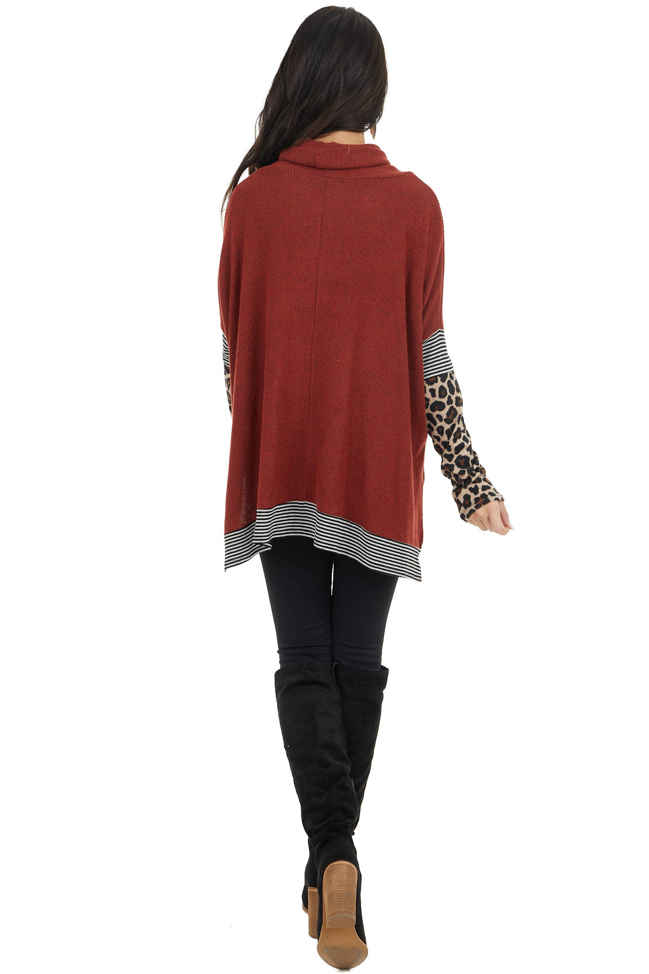 Rust Multiprint Ribbed Long Sleeve Top with Cowl Neck