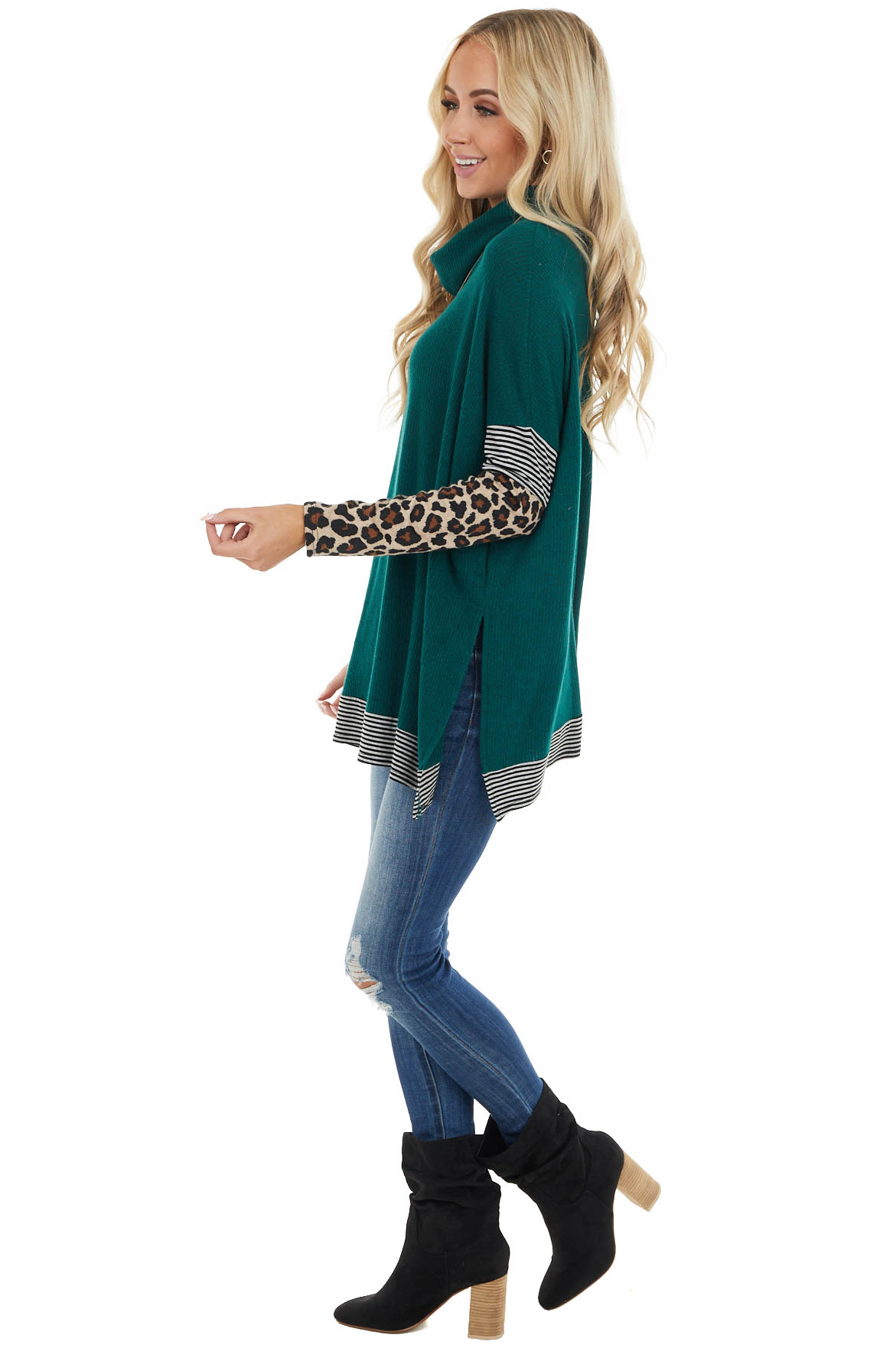 Forest Multiprint Ribbed Long Sleeve Top with Cowl Neck