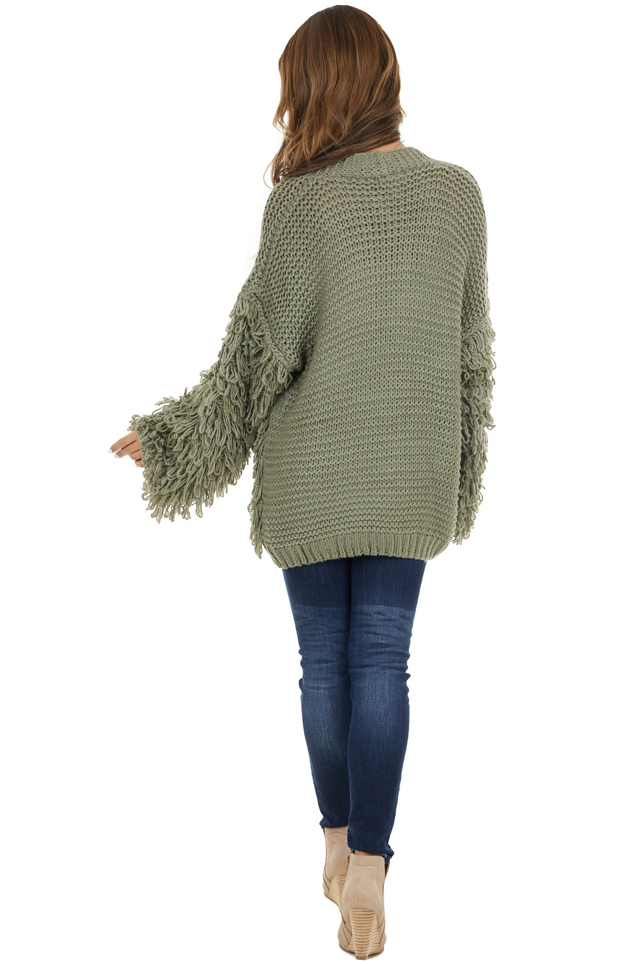 Olive Long Sleeve Knit Cardigan with Fringe Details