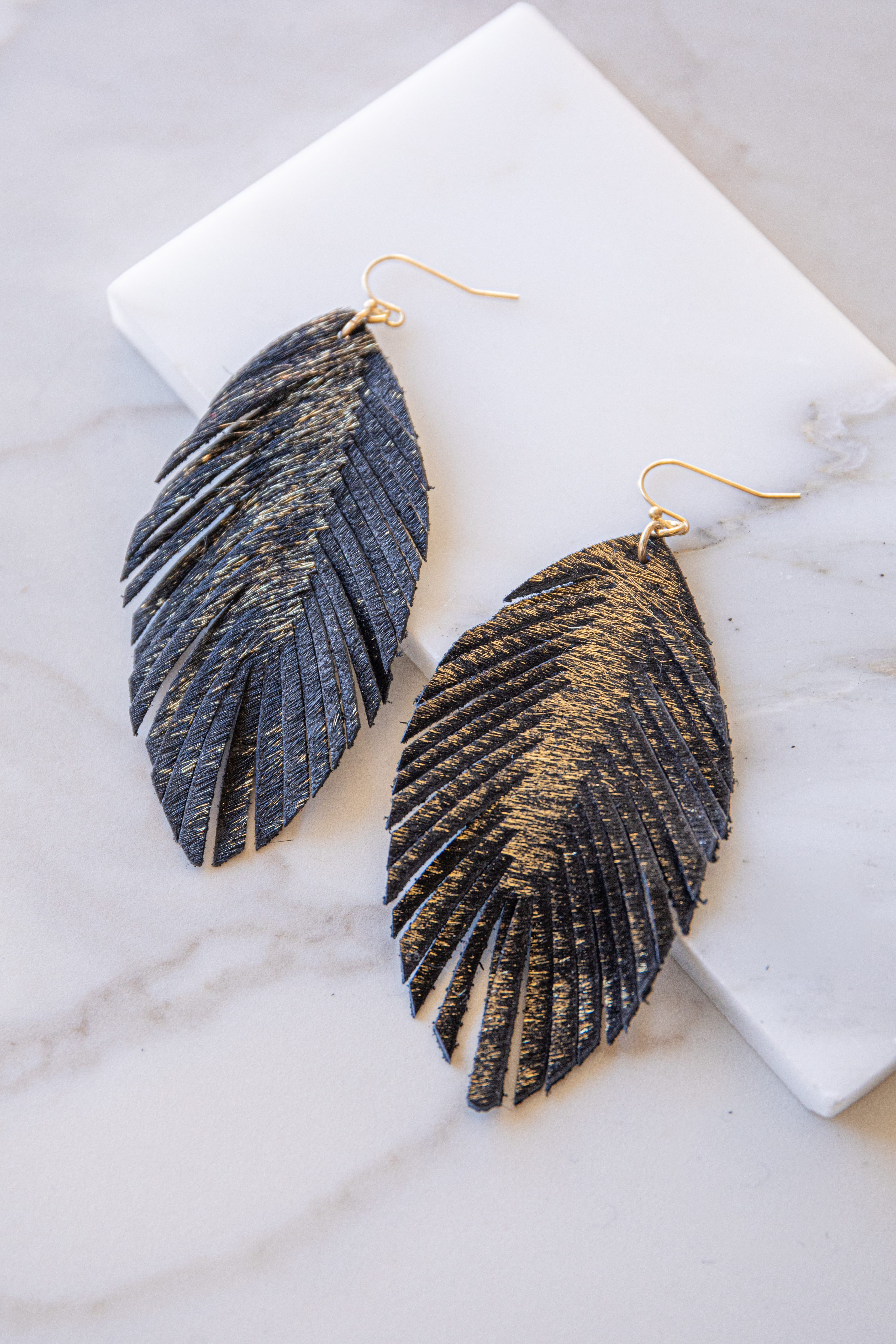 Black and Gold Dangle Earrings with Laser Cut Details