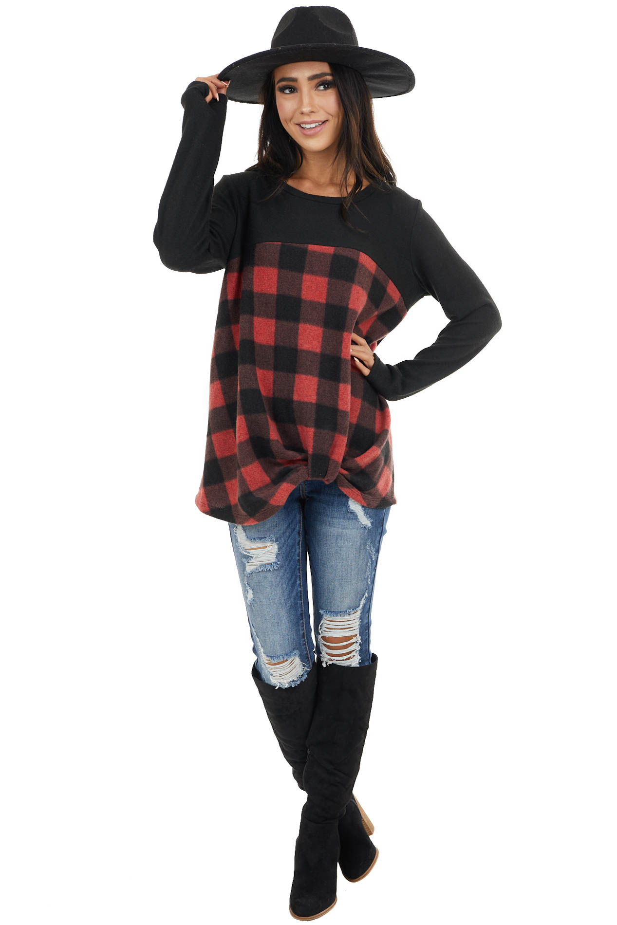 Black and Crimson Buffalo Plaid Top with Twisted Detail