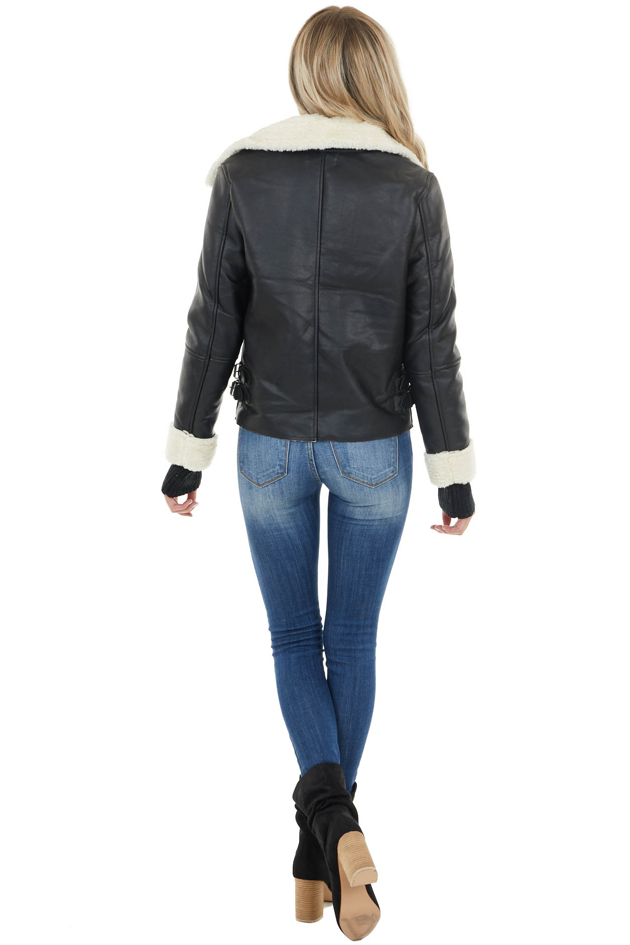 Black and Ivory Faux Leather Jacket with Sherpa Detail
