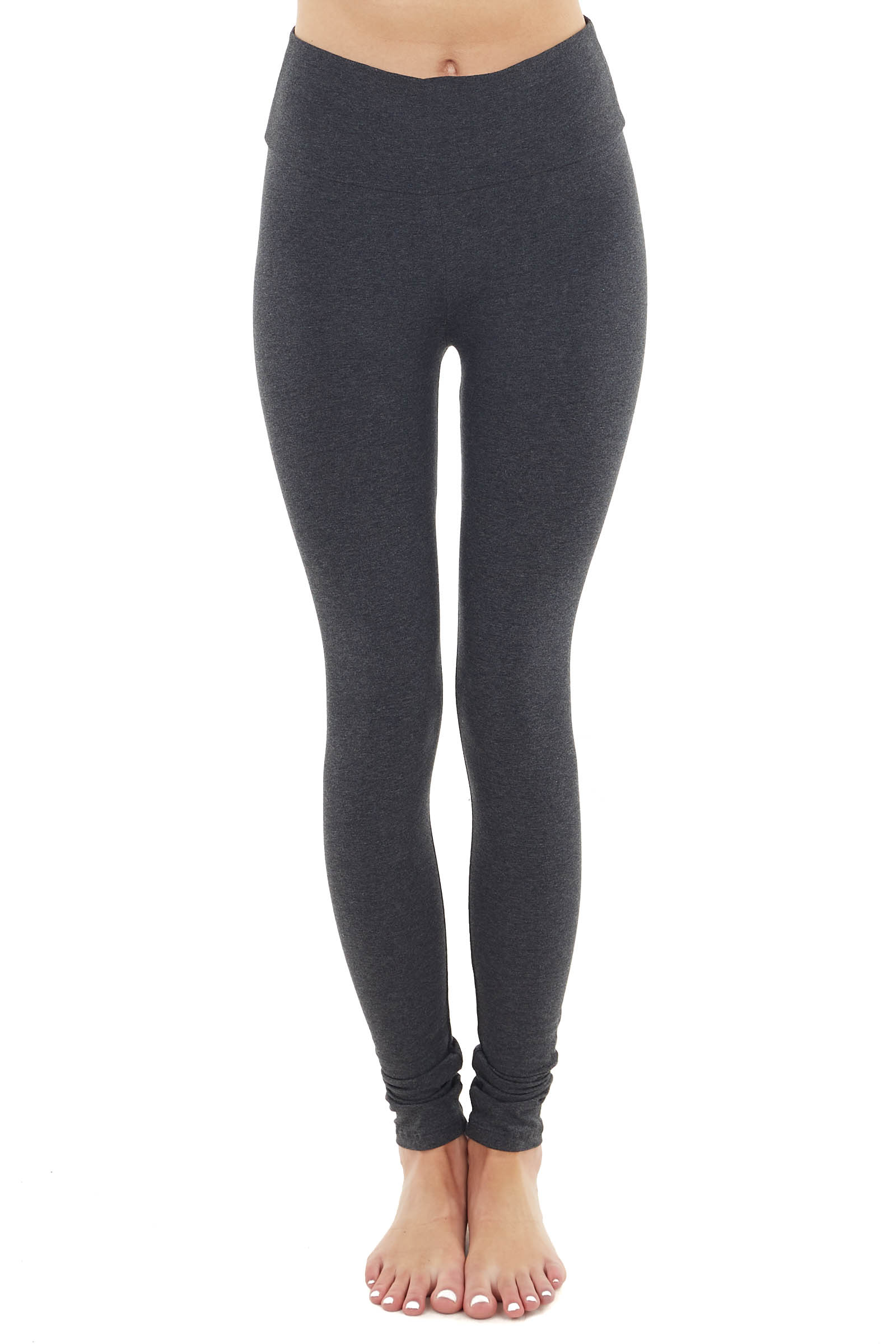 Charcoal Comfy Stretchy Knit Leggings with Banded High Waist