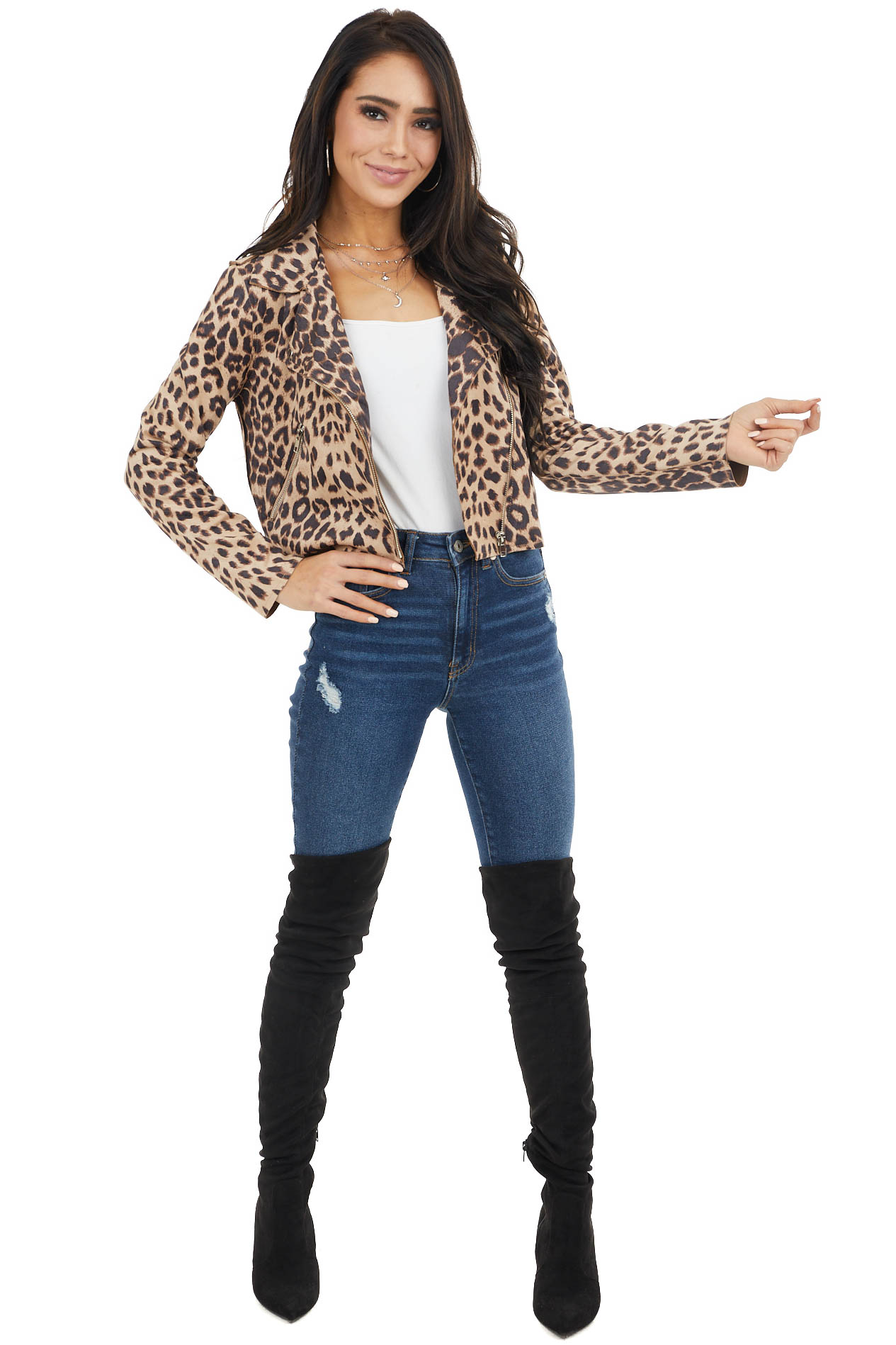 Latte and Black Leopard Print Long Sleeve Zip Up Moto Jacket